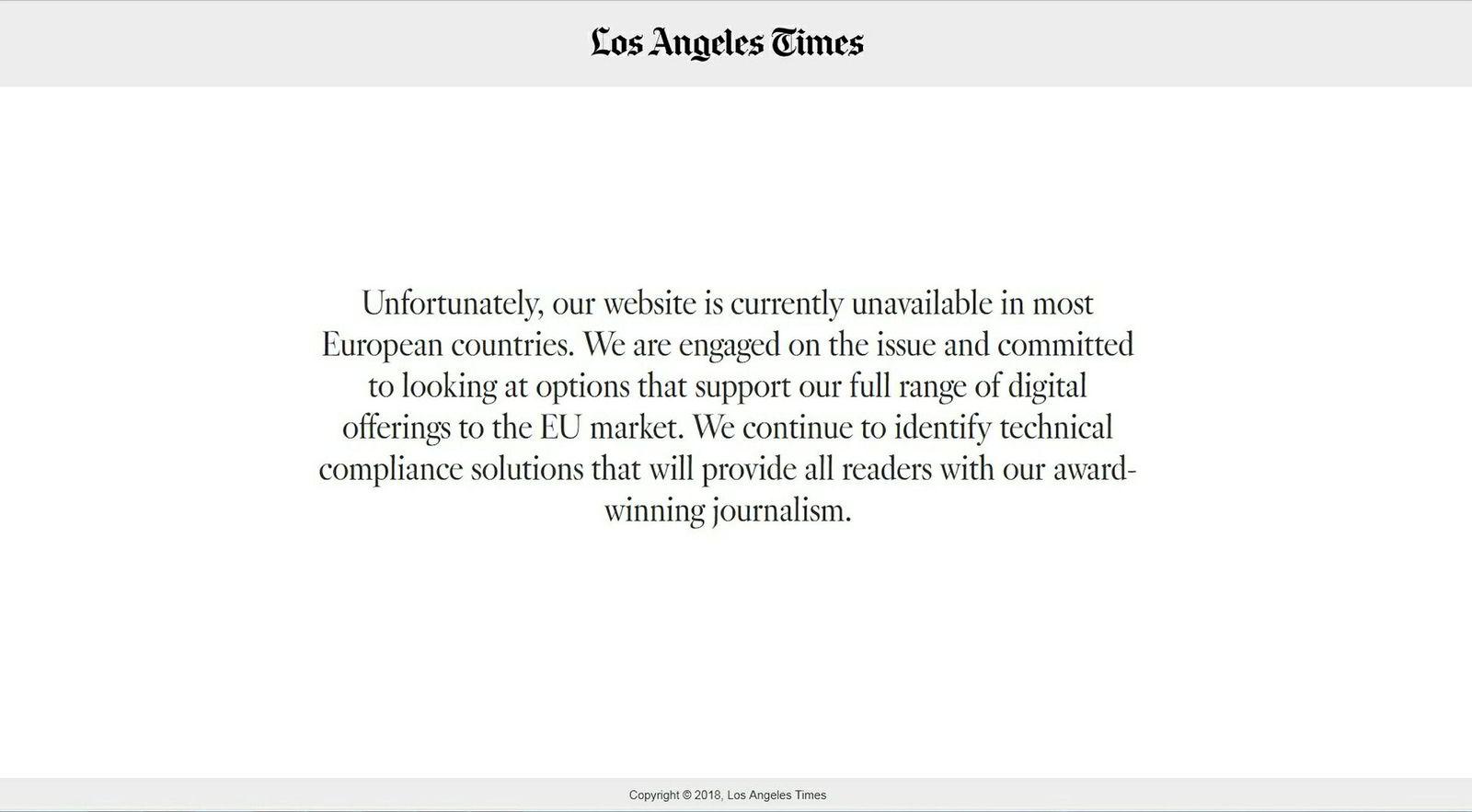 LA Times blokkerer europeiske brukere. Denne teksten møter europeere som vil lese siste nytt fra Los Angeles.