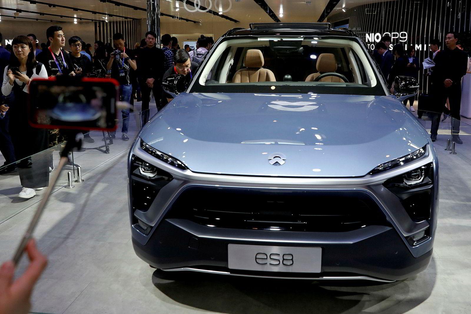 Nio ES8 utstilt på bilmessen Auto China i april, 2018.