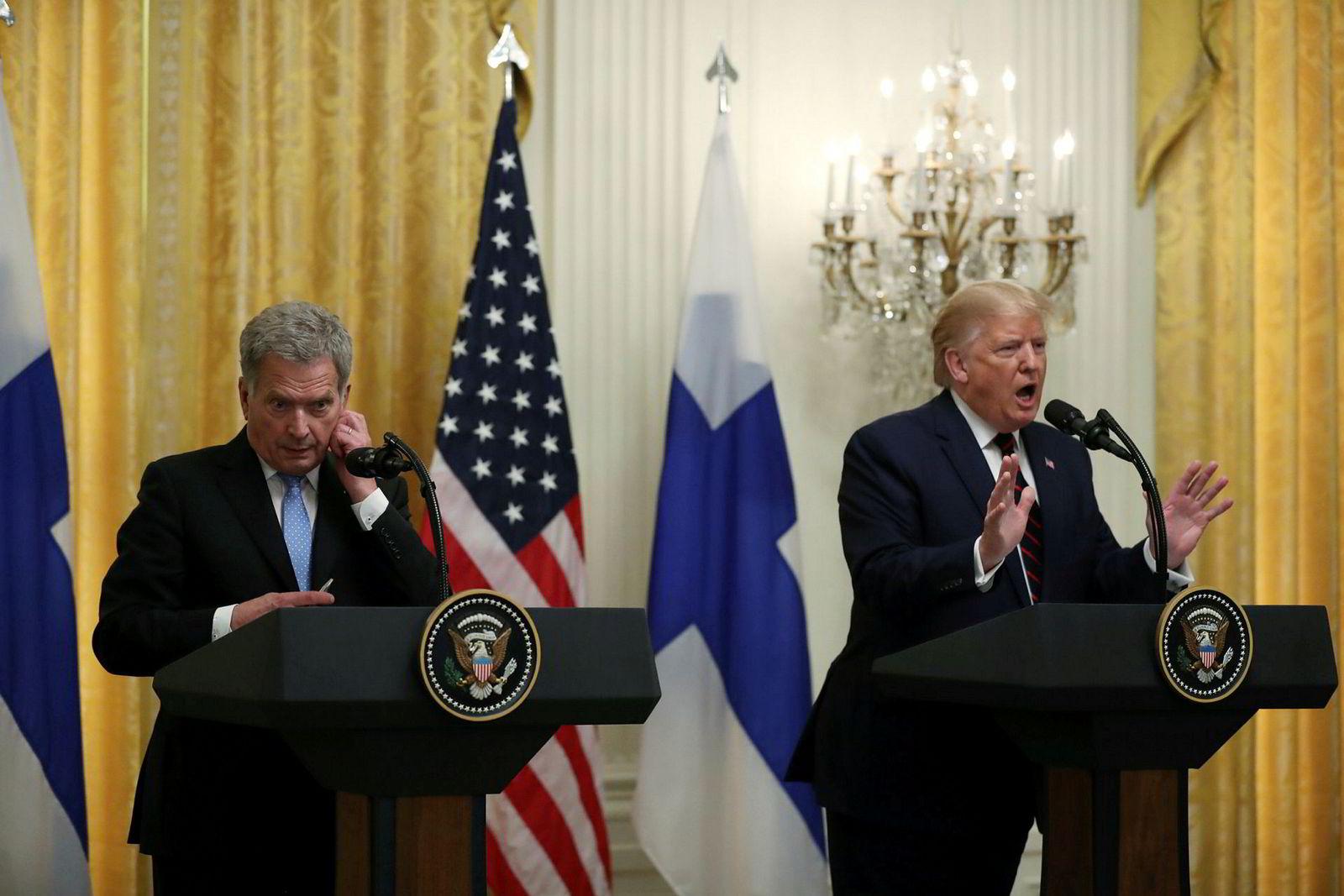 USAs president Donald Trump og den finske presidenten Sauli Niinisto holder en felles pressekonferanse i østrommet i Det hvite hus 2. oktober 2019 i Washington, D. C.e to lederne diskuterte angivelig trådløs 5G-teknologi og europeisk og arktisk sikkerhet da de møttes i Det hvite hus.