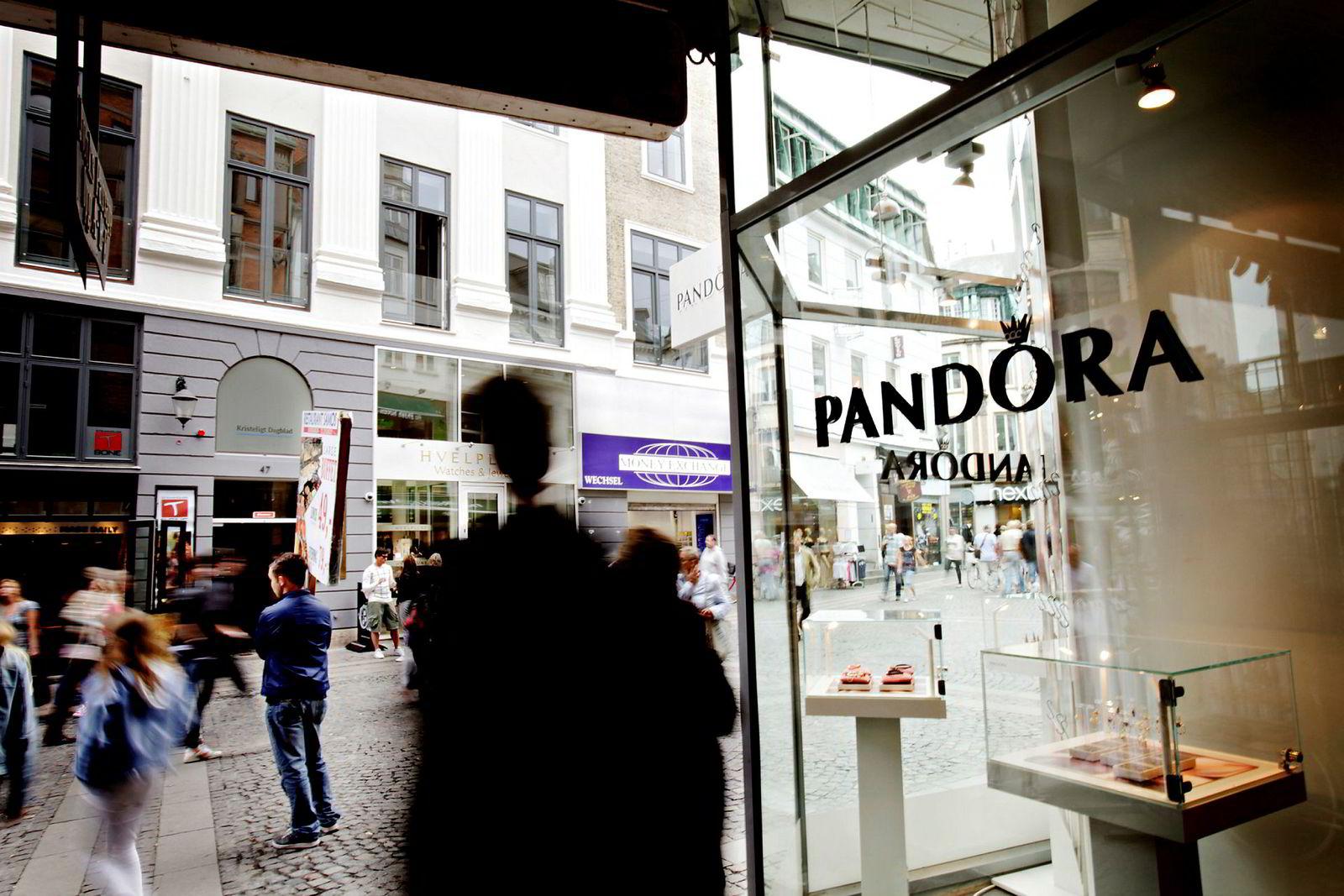 Smykkeprodusenten Pandoras butikk på Strøget i København.