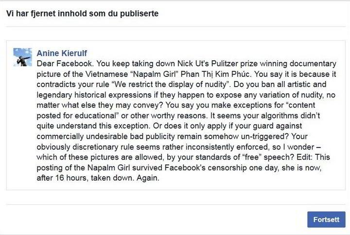 Kierulfs åpne brev til Facebook ble slettet fra sidene hennes.