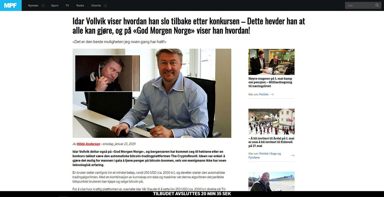 Idar Vollvik blir misbrukt i svindel. De falske nyhetsartiklene leder leserne til et svindelnettsted.