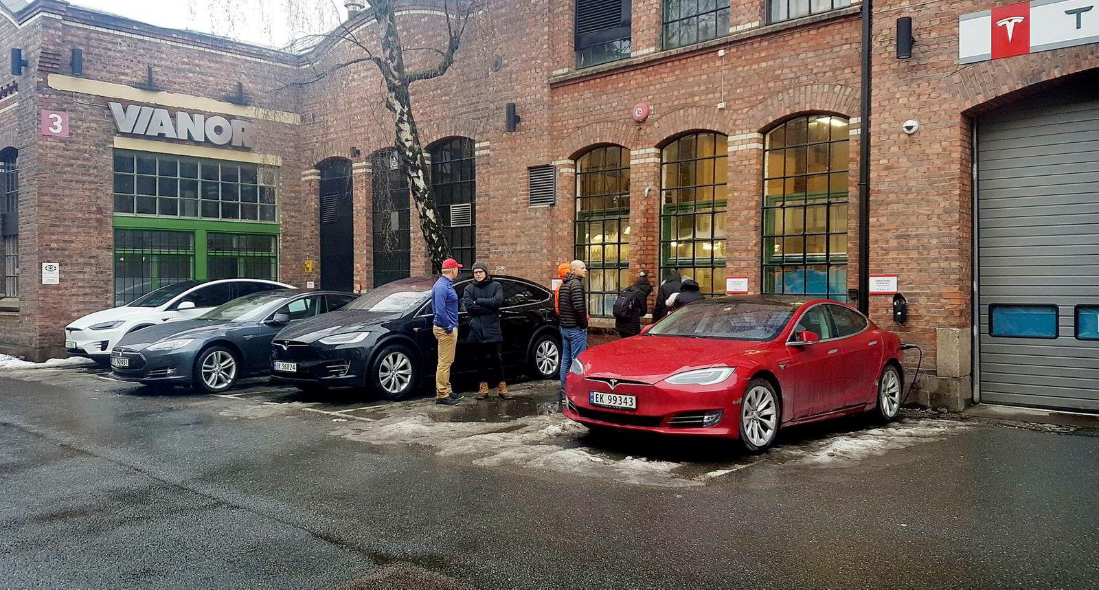 Et lite knippe mennesker forsøker å få et glimt av Tesla sjefen utenfor kontorene på skøyen.