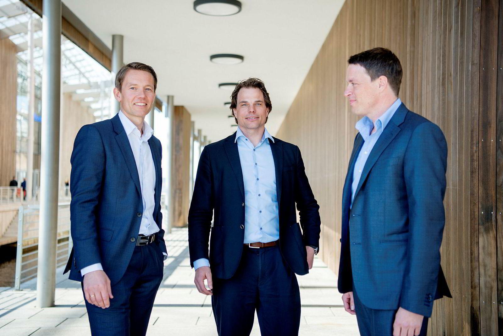 Fredrik Halvorsen (til høyre) og hans kolleger i Ubon Partners ledet Tandberg og Acano frem til store milliardsalg til Cisco. Sammen med blant annet Geir Førre skyter de inn nye millioner i Disruptive Technologies. Her med gründer og administrerende direktør Erik Fossum Færevaag (midten) og finansdirektør Jarle Kvamme.