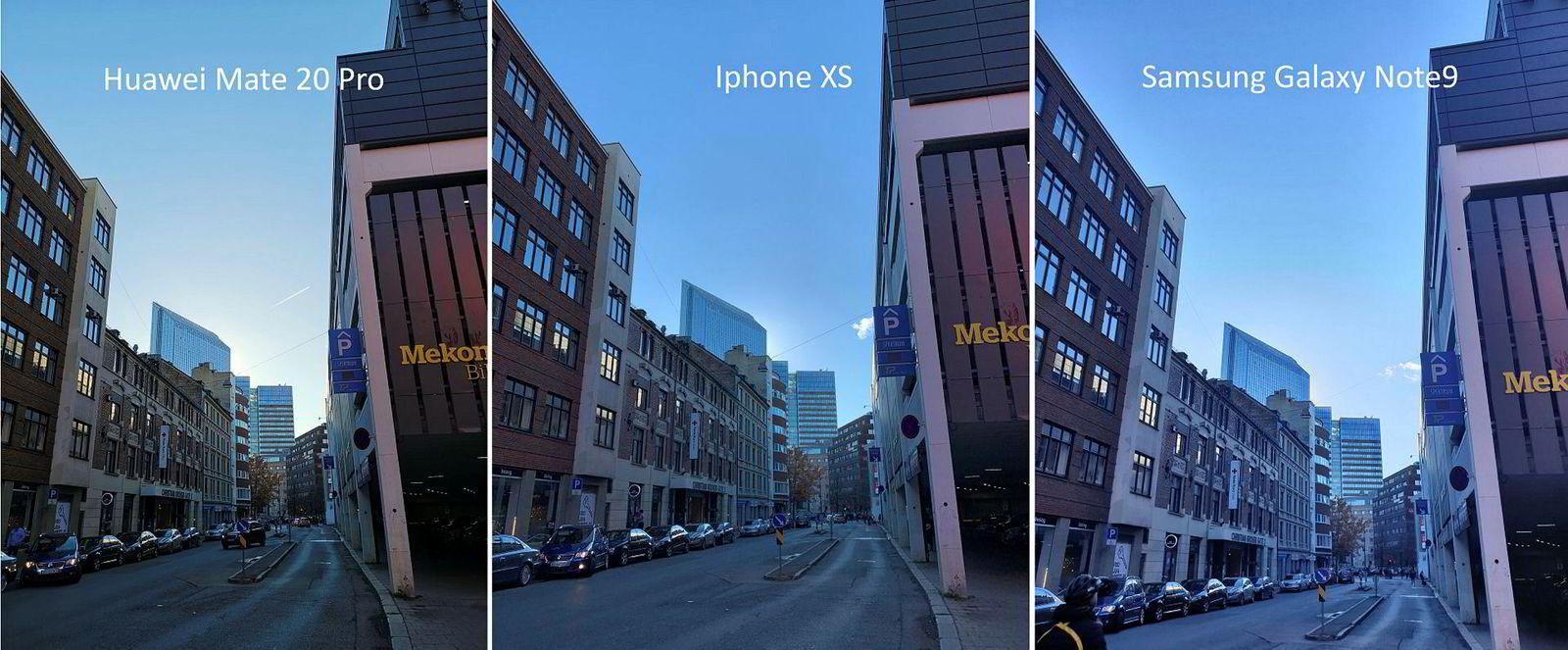 Utendørs høykontrast. Formålet er å se hvordan telefonene håndterer kontrast.