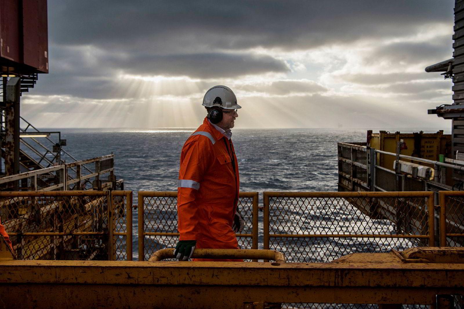 Administrerende direktør i HitecVision Ole Ertvaag, er offshore for første gang. Han besøkte Ringhorne, et av tre felt operert av Point Resources på Norsk sokkel.