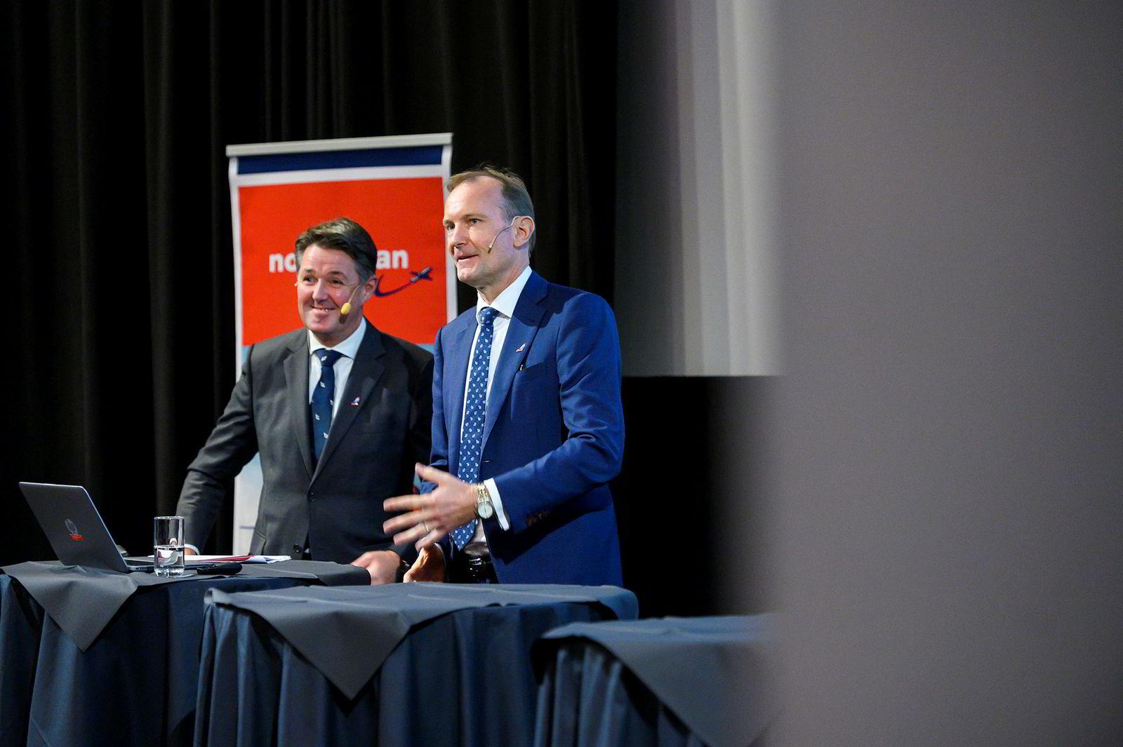 Midlertidig toppsjef Geir Karlsen (til venstre) og styreleder Niels Smedegaard la frem kvartalstall for under to uker siden. Den gang sa de at påfyll av frisk kapital ikke var et «hovedscenario». Det endret seg raskt.
