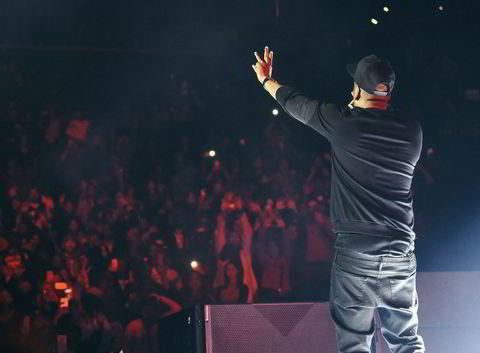 Rapperen Jay-Z på scenen på Tidal-konserten.