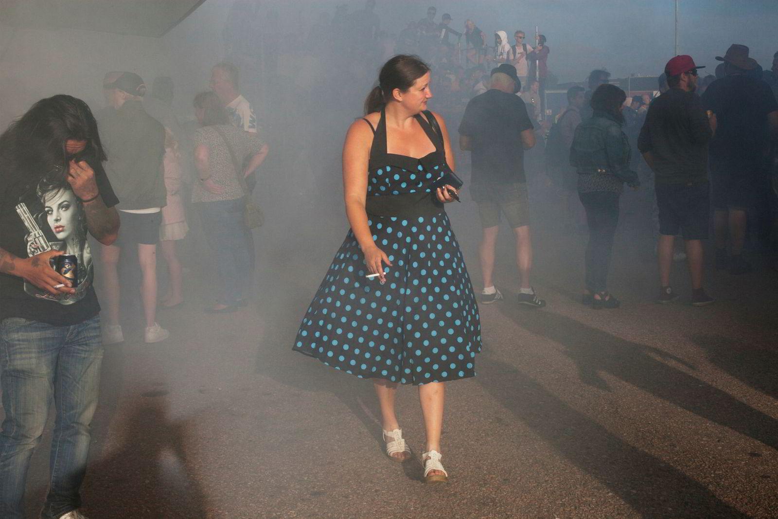 Burnout-konkurransen i Falkenberg sentrum er et av høydepunktene under stevnet.