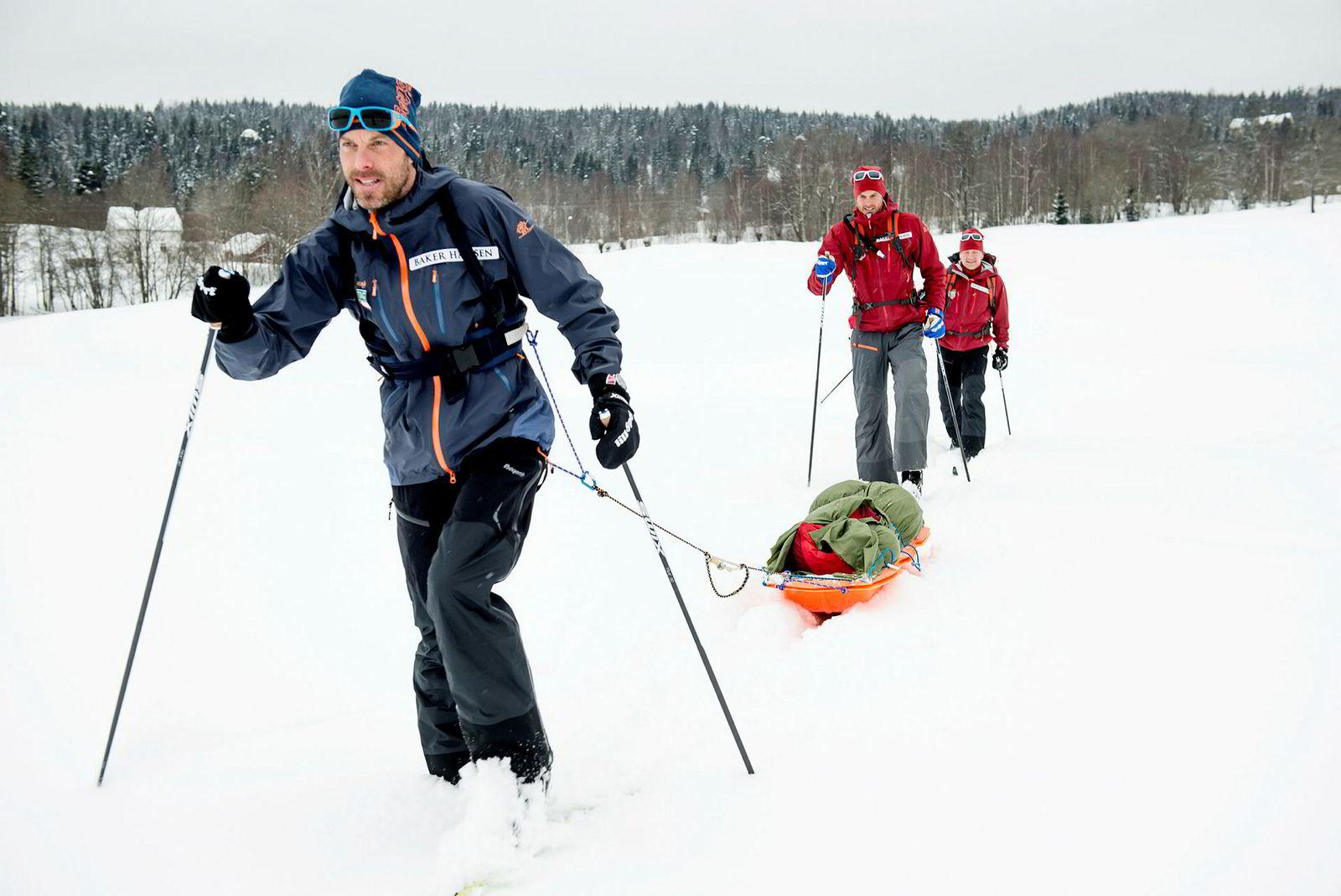 For å ta rekorden over Grønland må man få godt føre og godt vær. Det opplever de færreste hele veien. Føret i Lommedalen denne dagen er alt annet enn rekordføre.