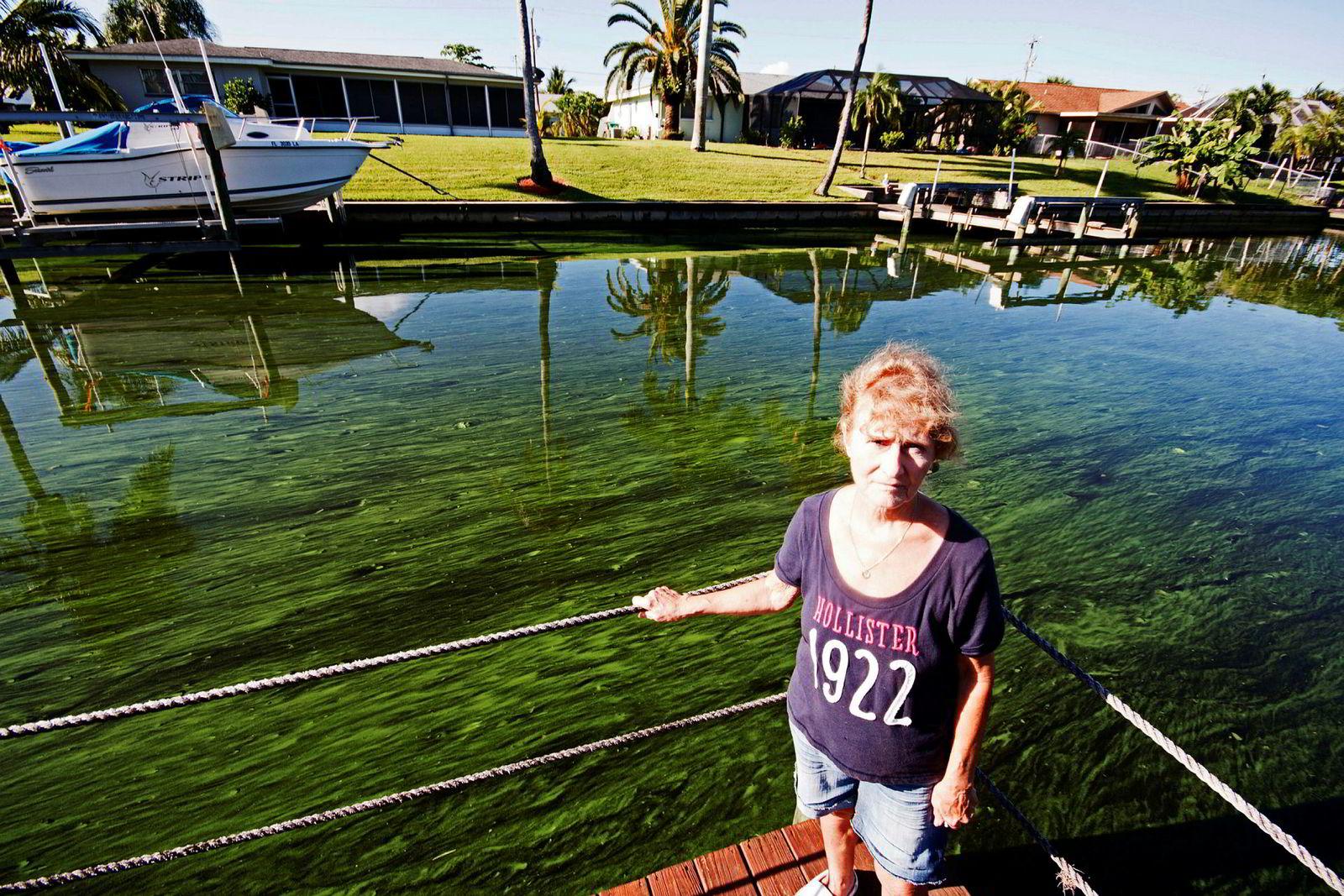 Sharon Childers har fått slimete grønne alger i kanalen foran huset sitt i Cape Coral, Florida.