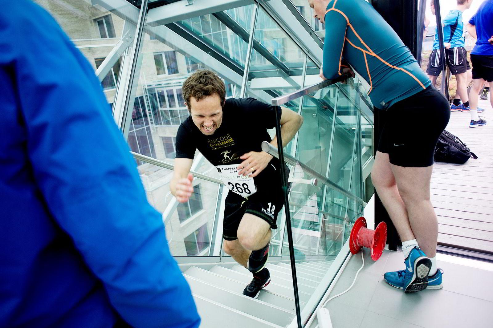 HARDE TRINN: Petter Furuseth gjennomførte et godt trappeløp på tiden 01:03. 9 sekunder bak vinner.  FOTO:Mikaela Berg