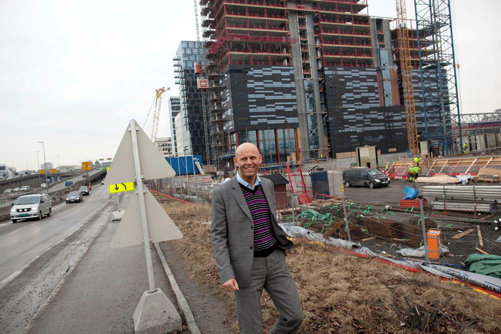 Braathen Eiendom-sjef Leif Arne Røsnes. Her i 2010 da flere av byggene i Barcode-prosjektet fortsatt var under bygging.
