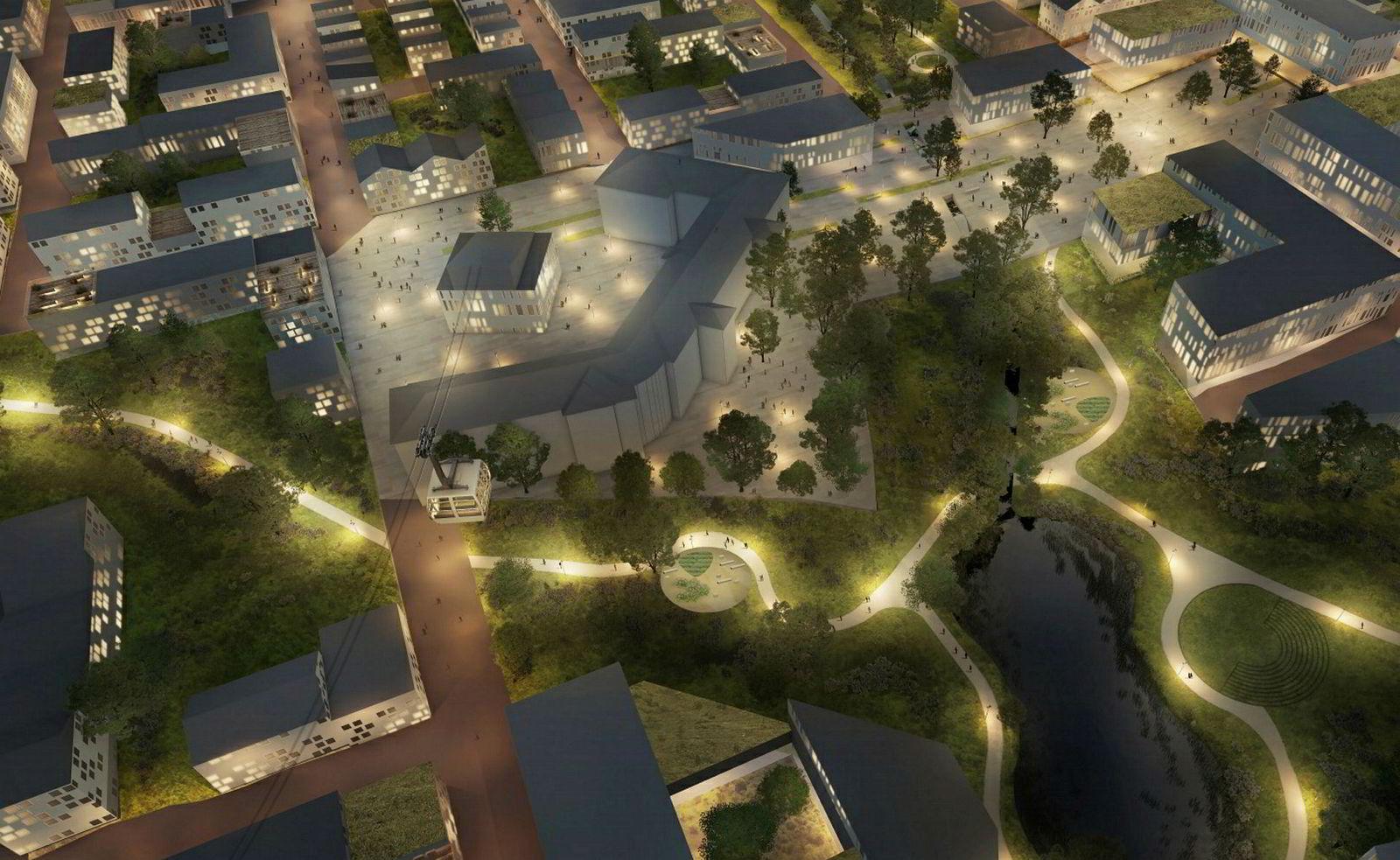 Arkitektskissen viser hvordan sentrumsområdet med gondolstasjonen på Dale kan bli seende ut. Her er den gamle kvinneavdelingen, det J-formede bygget, beholdt.