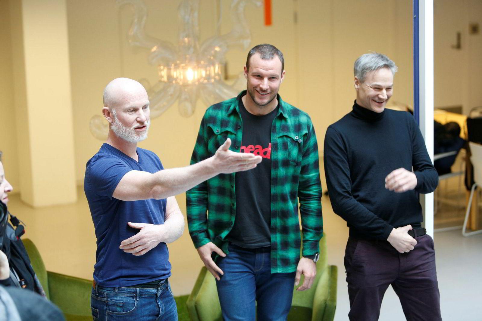 Per-Otto Wold (til venstre), Aksel Lund Svindal og Magnus Køber under lanseringen av sportsappen Spond i 2015, ett år før appen ble tatt i bruk.