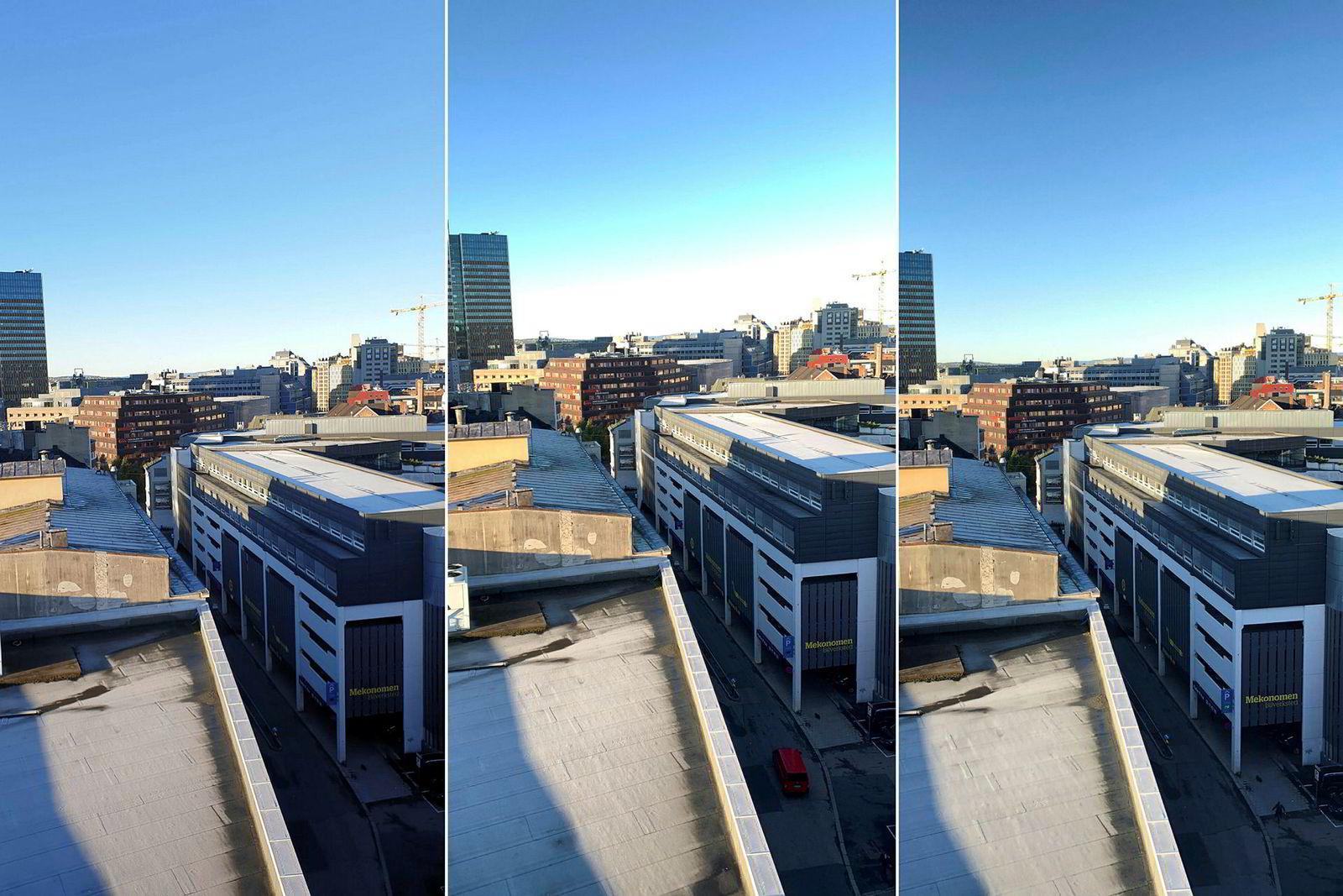 Landskapsbilde med høy kontrast i hardt lys. Den eneste utfordringen hvor Iphone XS kommer dårligst ut. Alle telefonene fikk eksponering og fokus satt på Mekonomen-skiltet. Iphone XS (i midten) overeksponerer himmelen drastisk. Note9 er mørkest i skyggepartiene, men beholder mest detaljer i de lyse partiene.