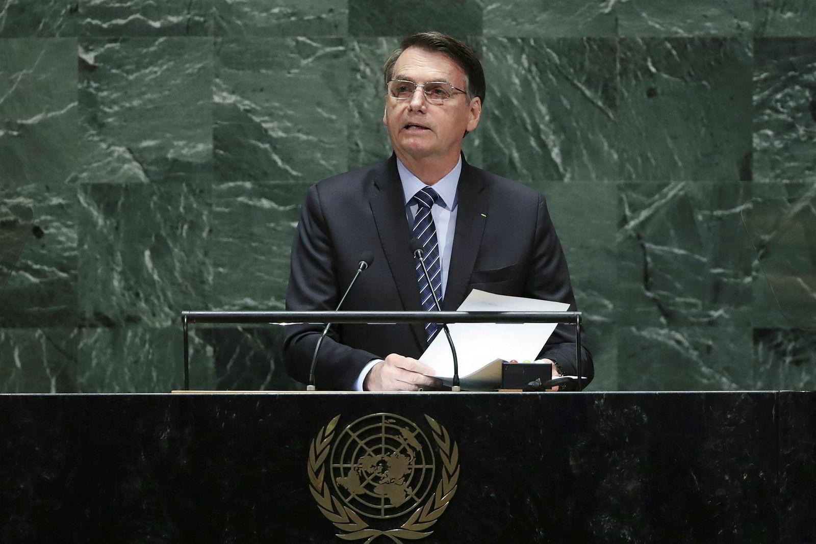 Først ut på talerstolen i FN tirsdag var den brasilianske presidenten Jair Bolsonaro.