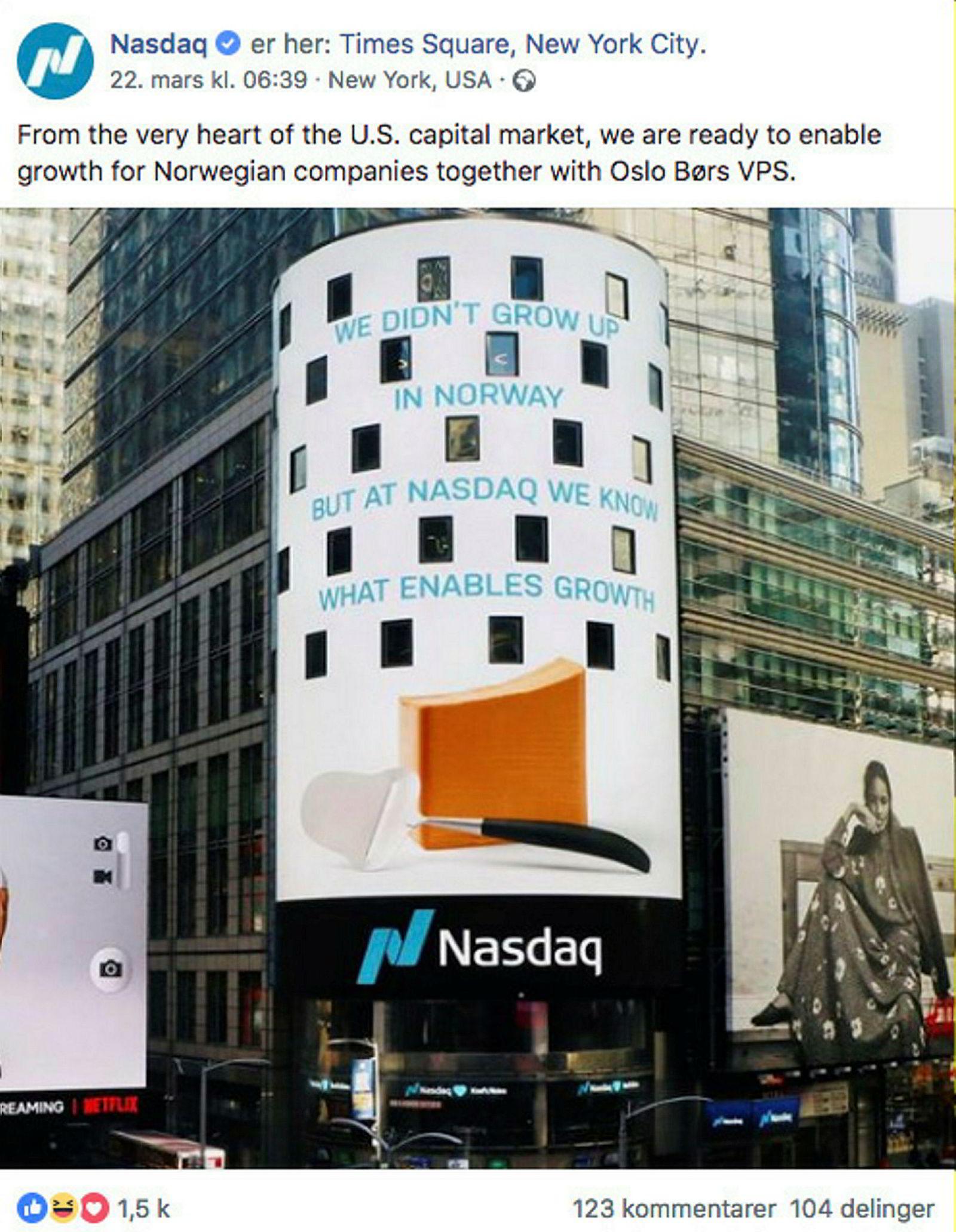 Nasdaq delte før helgen et bilde som tilsynelatende viser at børsgruppen promoterer sitt bud på Oslo Børs VPS på en LCD-skjerm i New York.