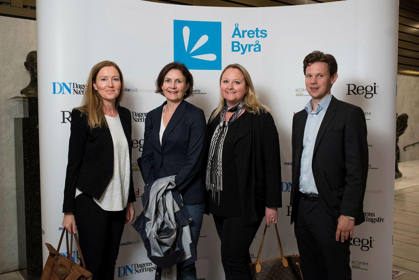Fra venstre: Aslaug Kalve, Lise Regine KRistensen, Hanne Jegleim og Fredrik Bentzen i mediebyrået Mediacom.