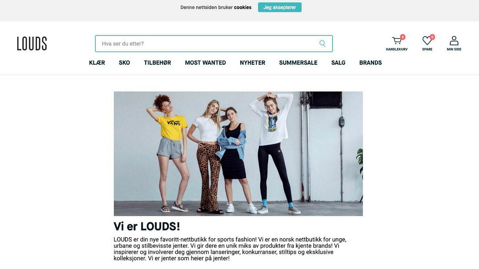 Etter kun ett år i drift velger XXL å legge ned nettbutikken Louds.no. Skjermdump av selskapets hjemmeside.