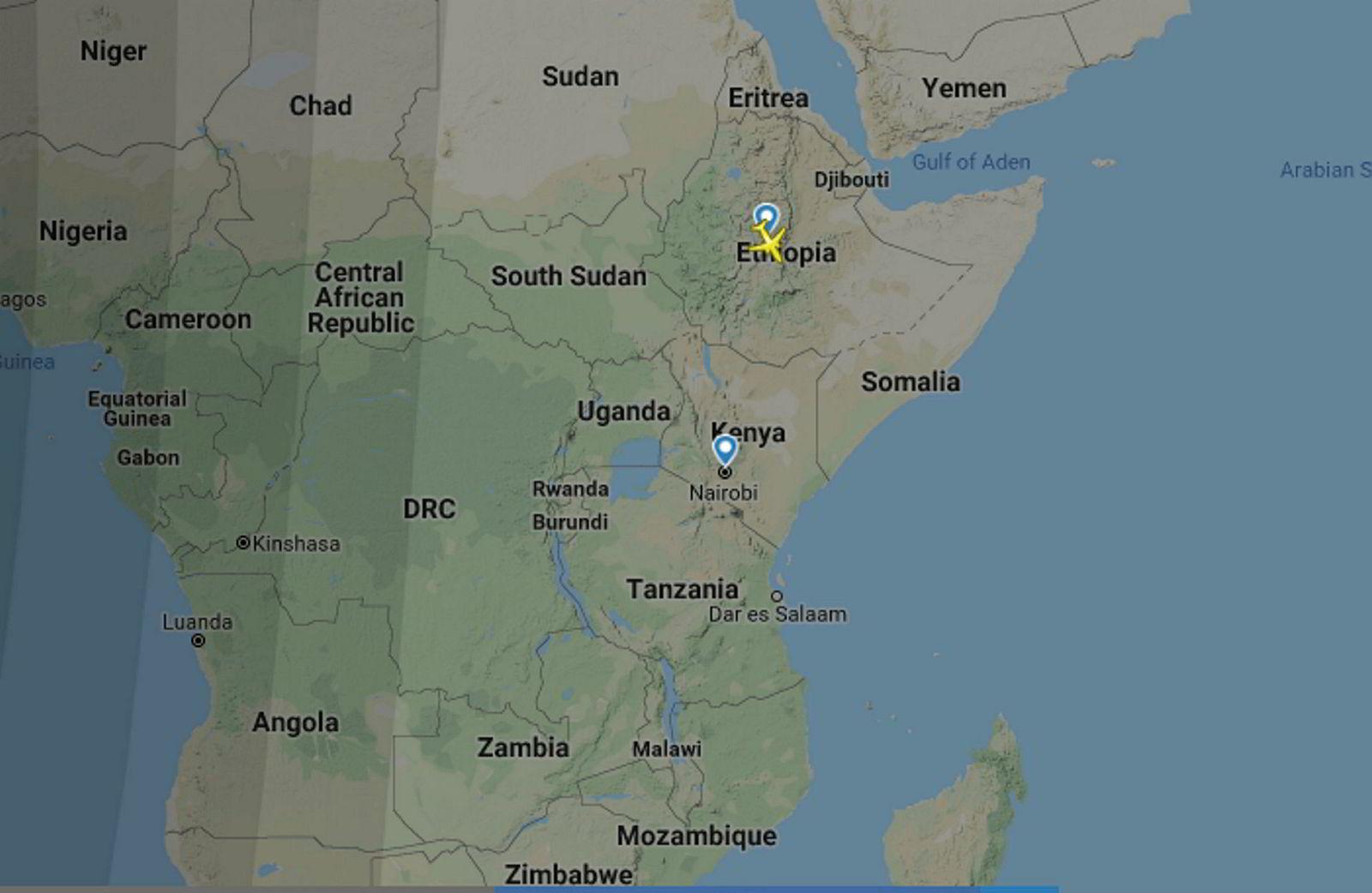 Det var fly ET302 fra Addis Ababa som styrtet på vei til Nairobi. Flightradars tracking av flyet stopper rett etter at flyet tok av fra den etiopiske hovedstaden. I en pressemelding skriver flyselskapet at de mistet kontakten med flyet etter seks minutter.