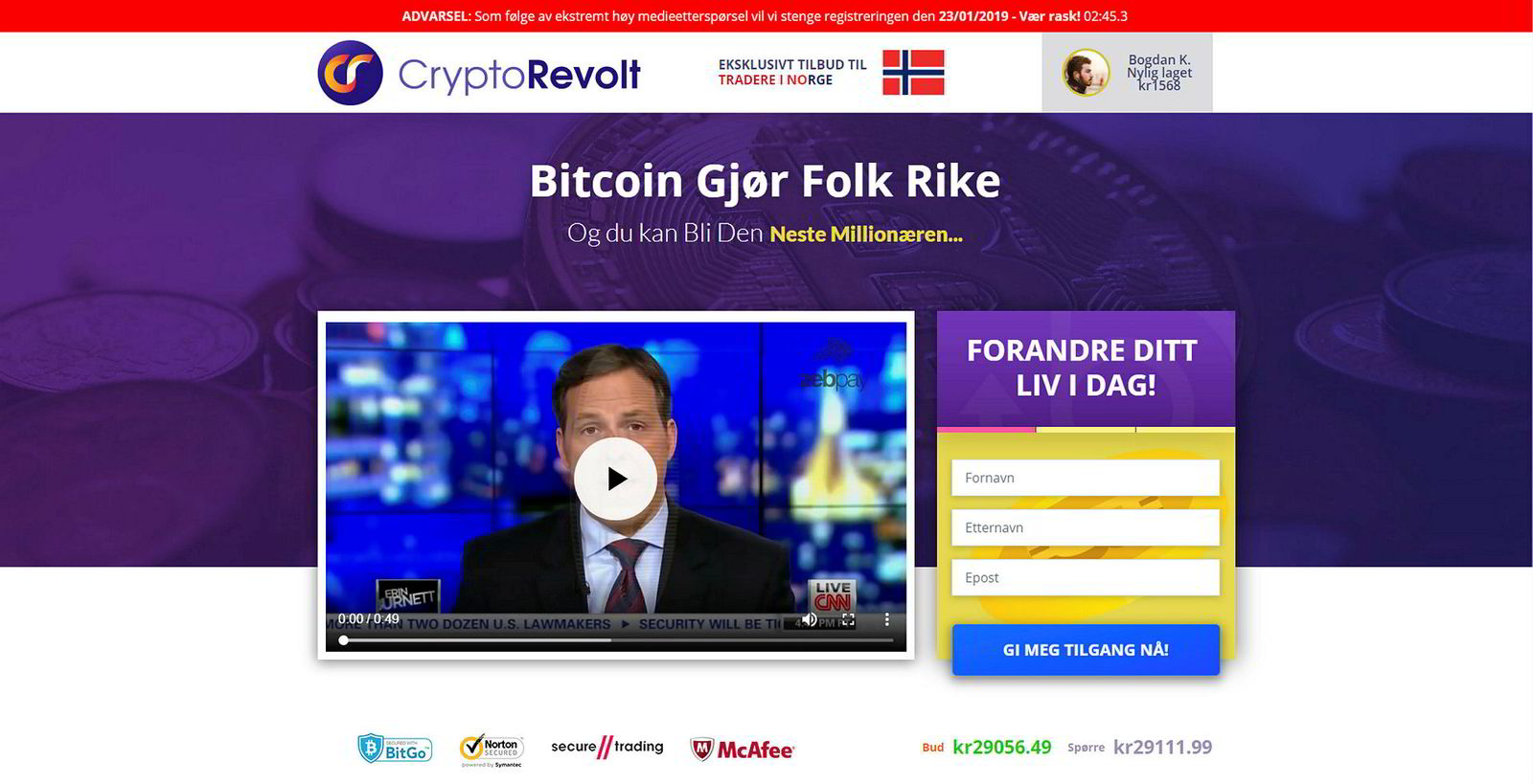 De falske nyhetssakene leder brukerne til svindelnettstedet CryptoRevolt.