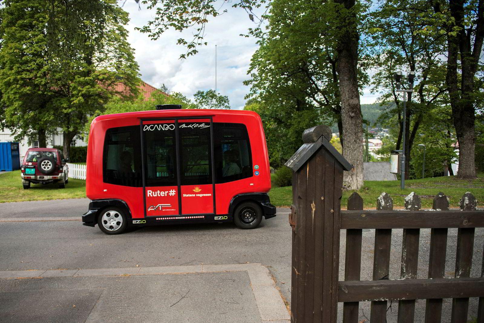 Selvkjørende busser som denne skal ut på norske veier i nær fremtid.