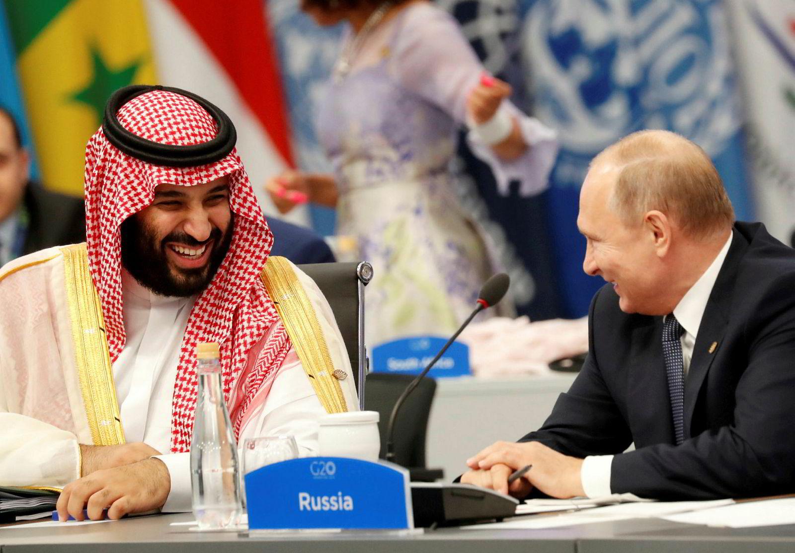 Saudi-Arabias kronprins Mohammad Bin Salman og Russlands president Vladimir Putin spiller hovedrollen i dramaet som nå har ført til kraftig oljeprisfall.