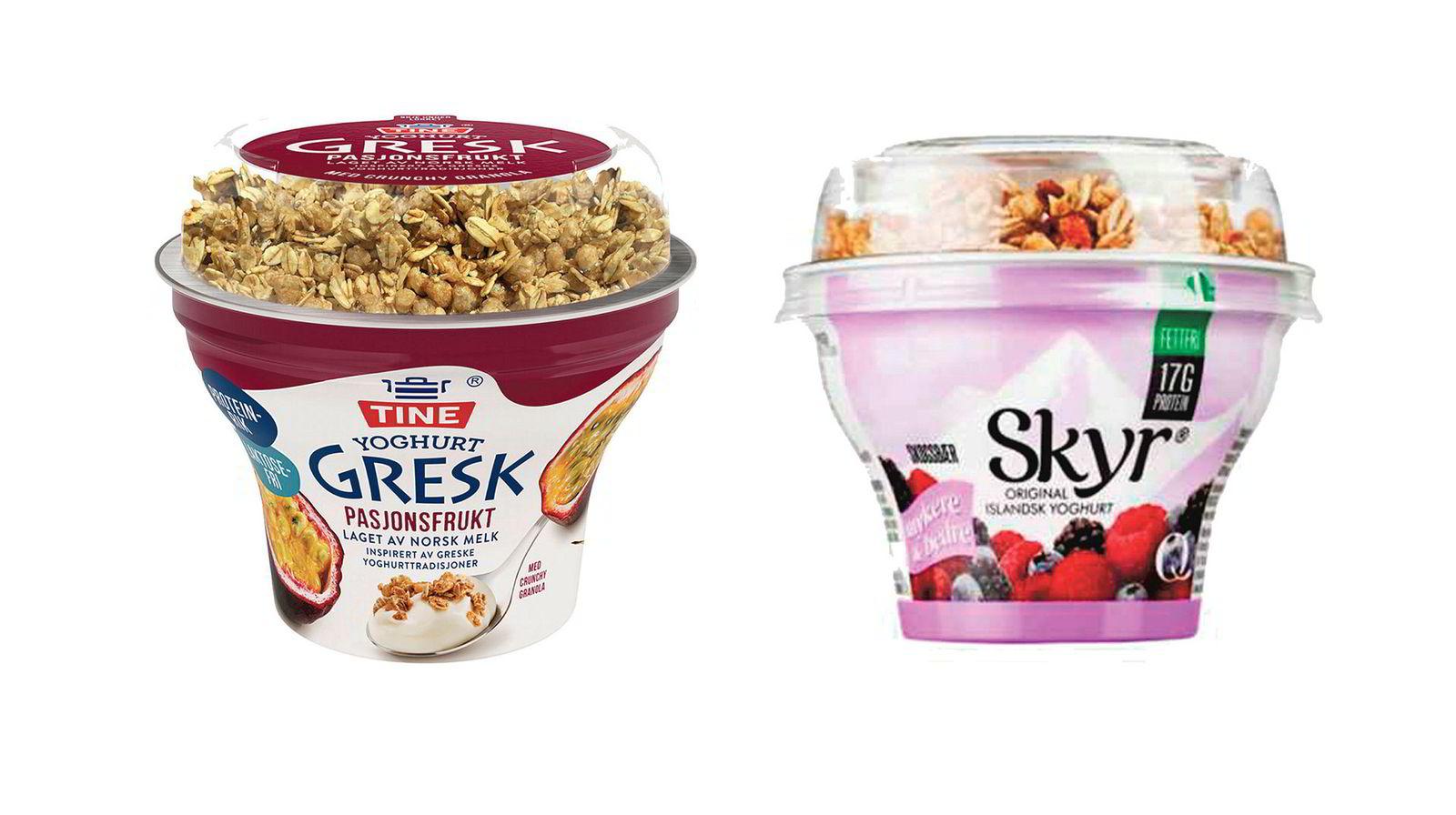Kopiering? Slik fremstår de to produktene som Q-Meieriene (Skyr) og Tine (gresk yoghurt) nå krangler om.