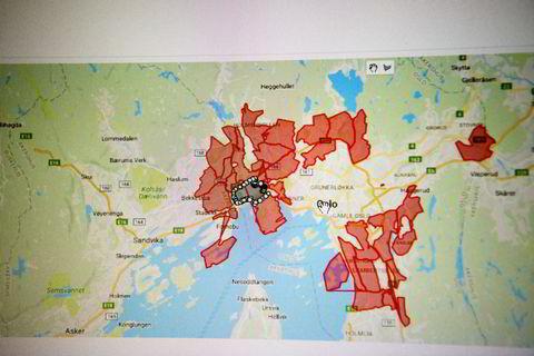 Kartet viser de 24 områdene i Oslo Brødboksen i dag leverer til. Om fire uker satser selskapet på å ha 30 ruter i Oslo, men vil fortsatt kun levere til rekkehus og boliger, ikke leiligheter.
