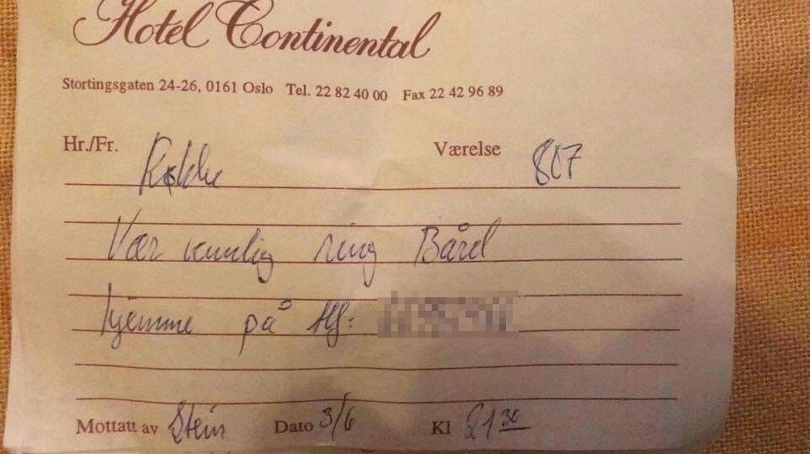 Lappen som ble funnet i en Fretex-dress kjøpt på «Herrenes aften» på Fretex Majorstuen tirsdag 28. november.