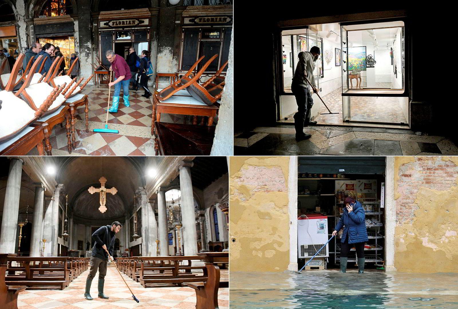Det ble mye tørking av gulv for folk i butikker og kirker.