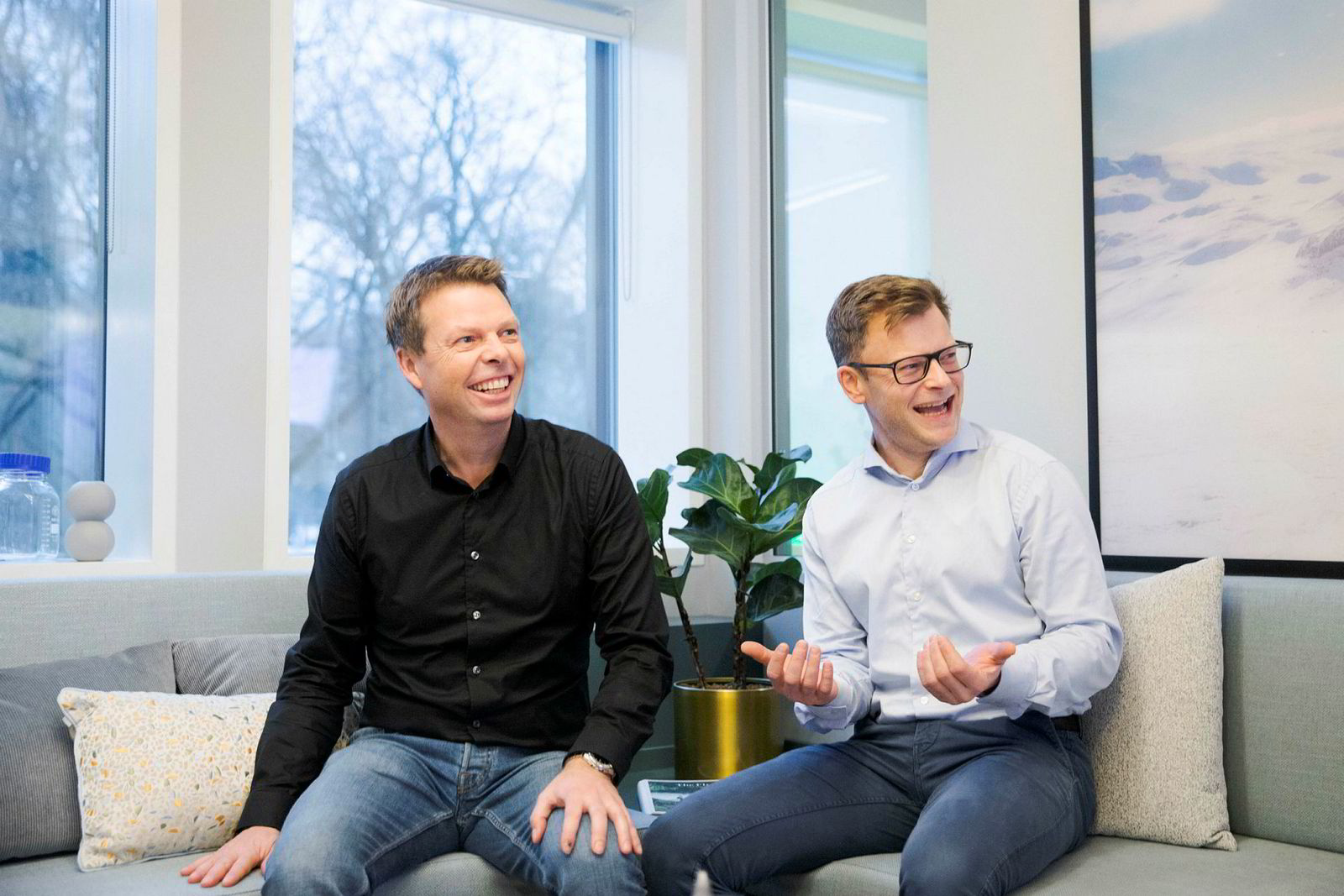Administrerende direktør Øyvind Birkenes i Airthings og teknologidirektør og medgründer Erlend Bolle.