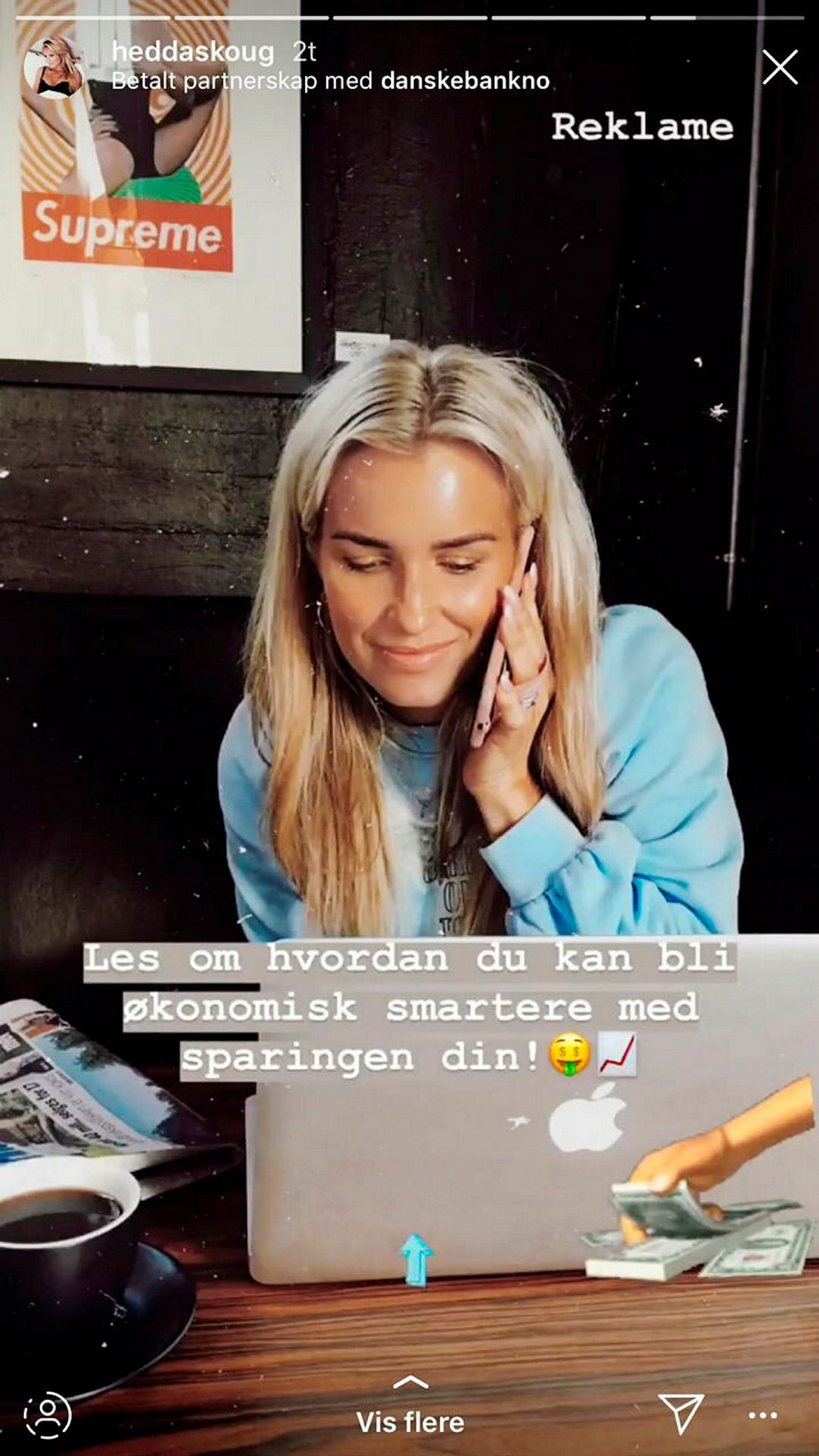 Etter at feilen ble oppdaget, ble innlegget til influenser Hedda Skoug merket som annonseinnhold fra Danske Bank. Skoug har over 55.000 følgere på Instagram.