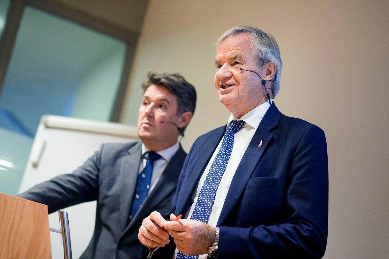 Finansdirektør Geir Karlsen (fra venstre) og toppsjef Bjørn Kjos.