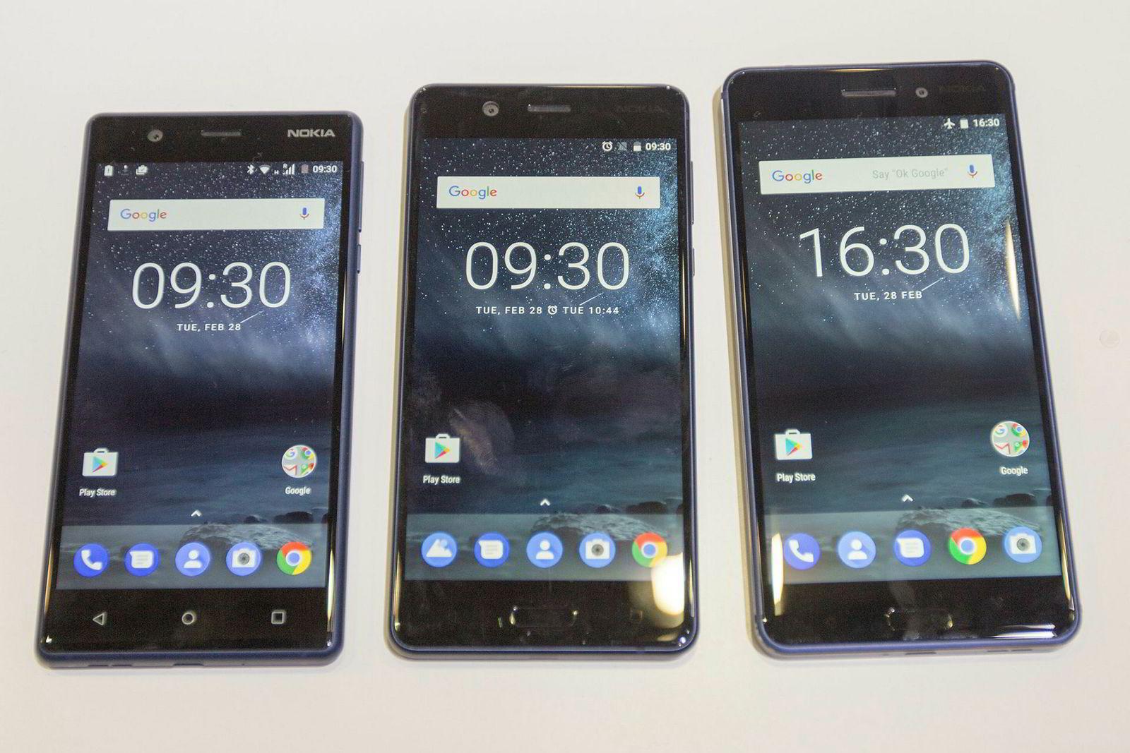 Nokia 3, Nokia 5 og Nokia 6. Nokias nye telefoner er rimelige, men skal holde høy kvalitet og ha markedsledende kamera, ifølge Nokia selv. Tiden vil vise om de klarer seg denne gangen.