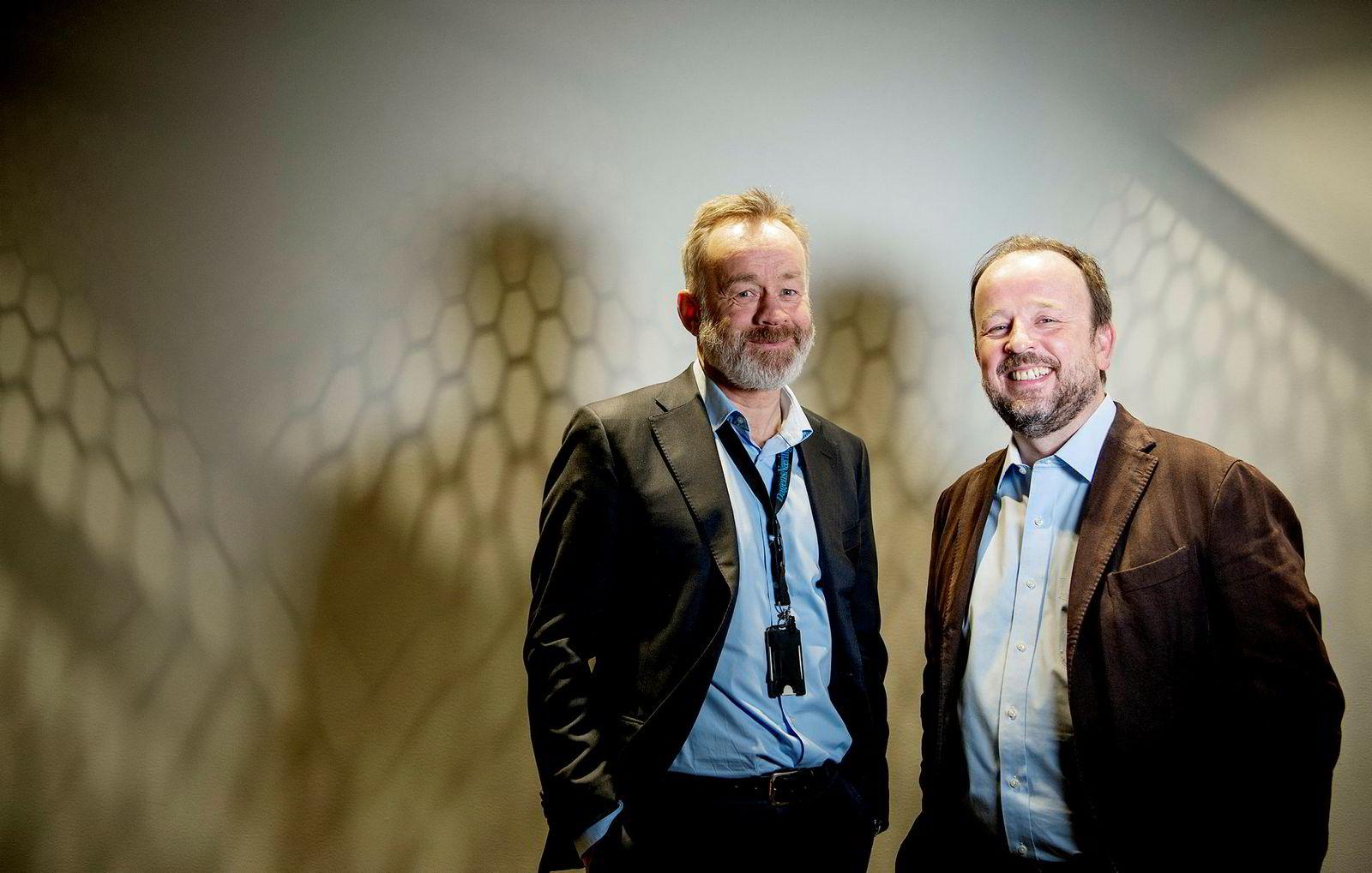 DNs nye politiske redaktør Frithjof Jacobsen (til høyre) og sjefredaktør Amund Djuve.