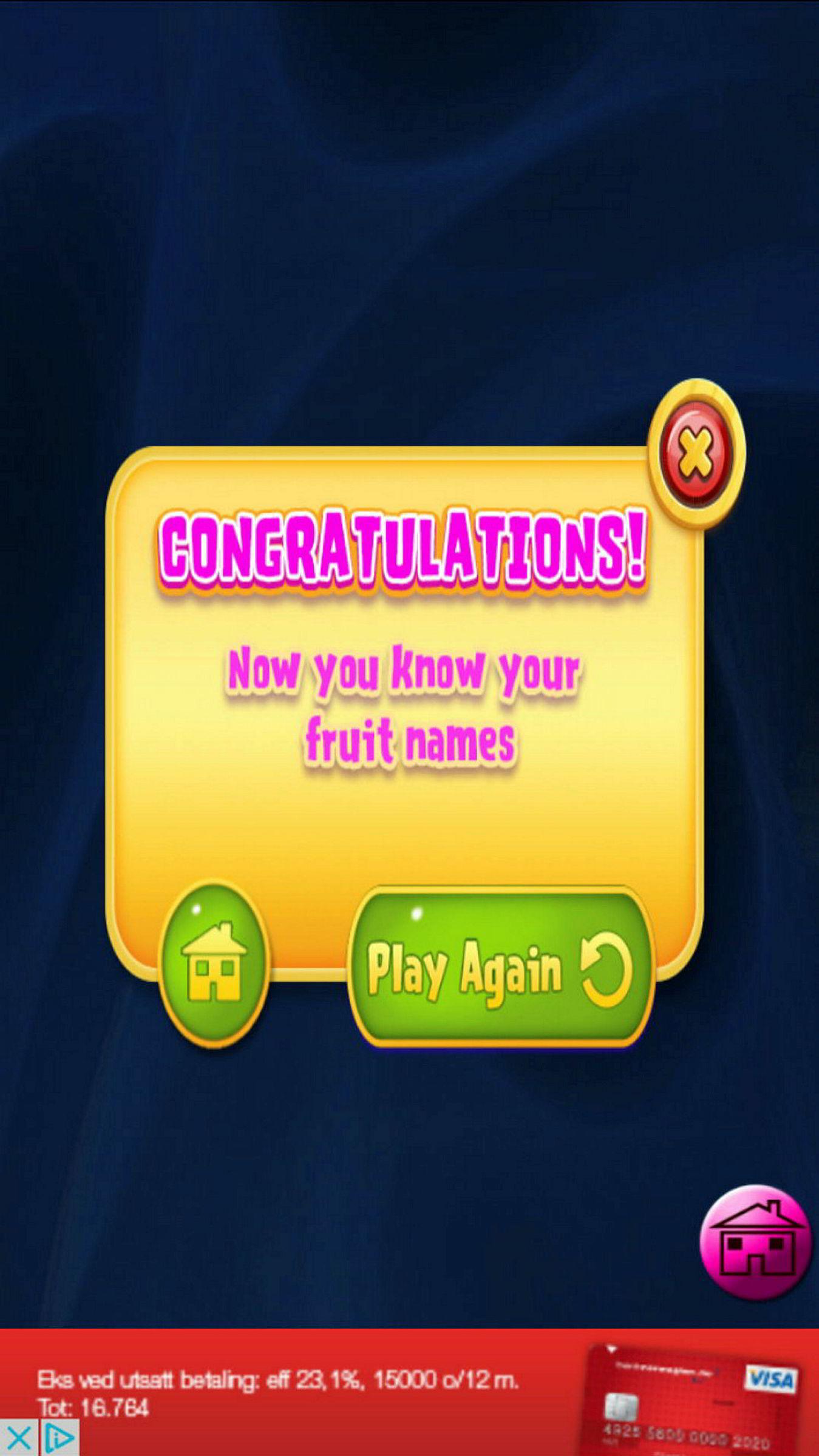 Barn som gjetter navn på frukter, blir også møtt med reklame for kredittkort. Skjermdump fra appen.