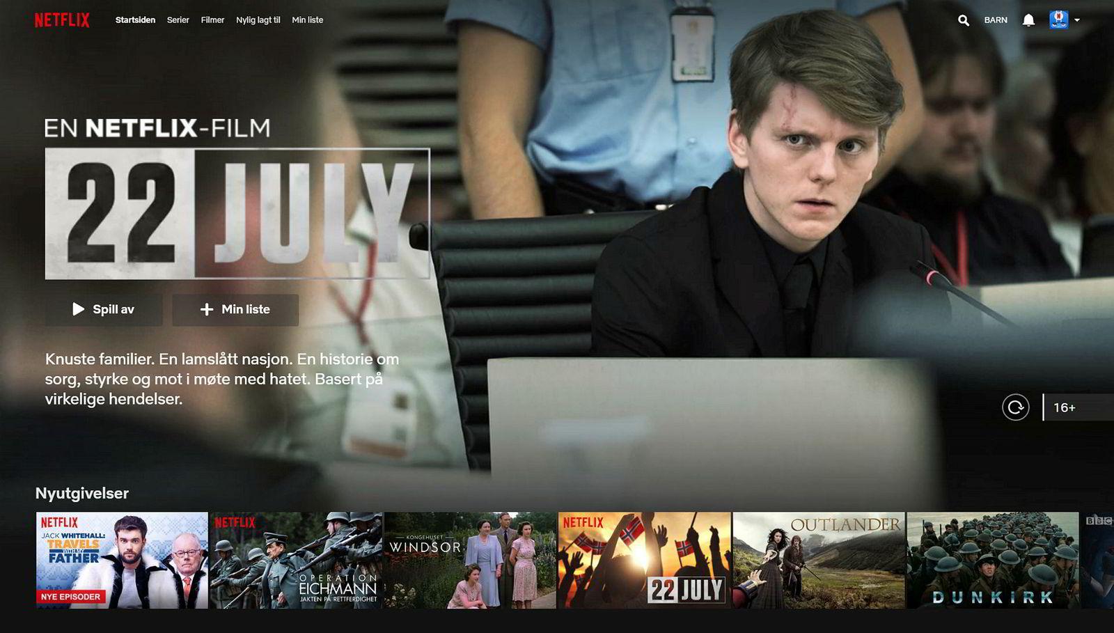 «22 July» på Netflix via norsk nettleser ble frontet slik onsdag og torsdag etter lanseringen.