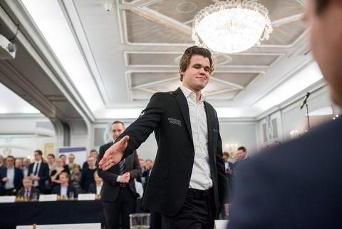 Verdensmester i sjakk Magnus Carlsen under et arrangement i regi sponsoren Arctic Securities.