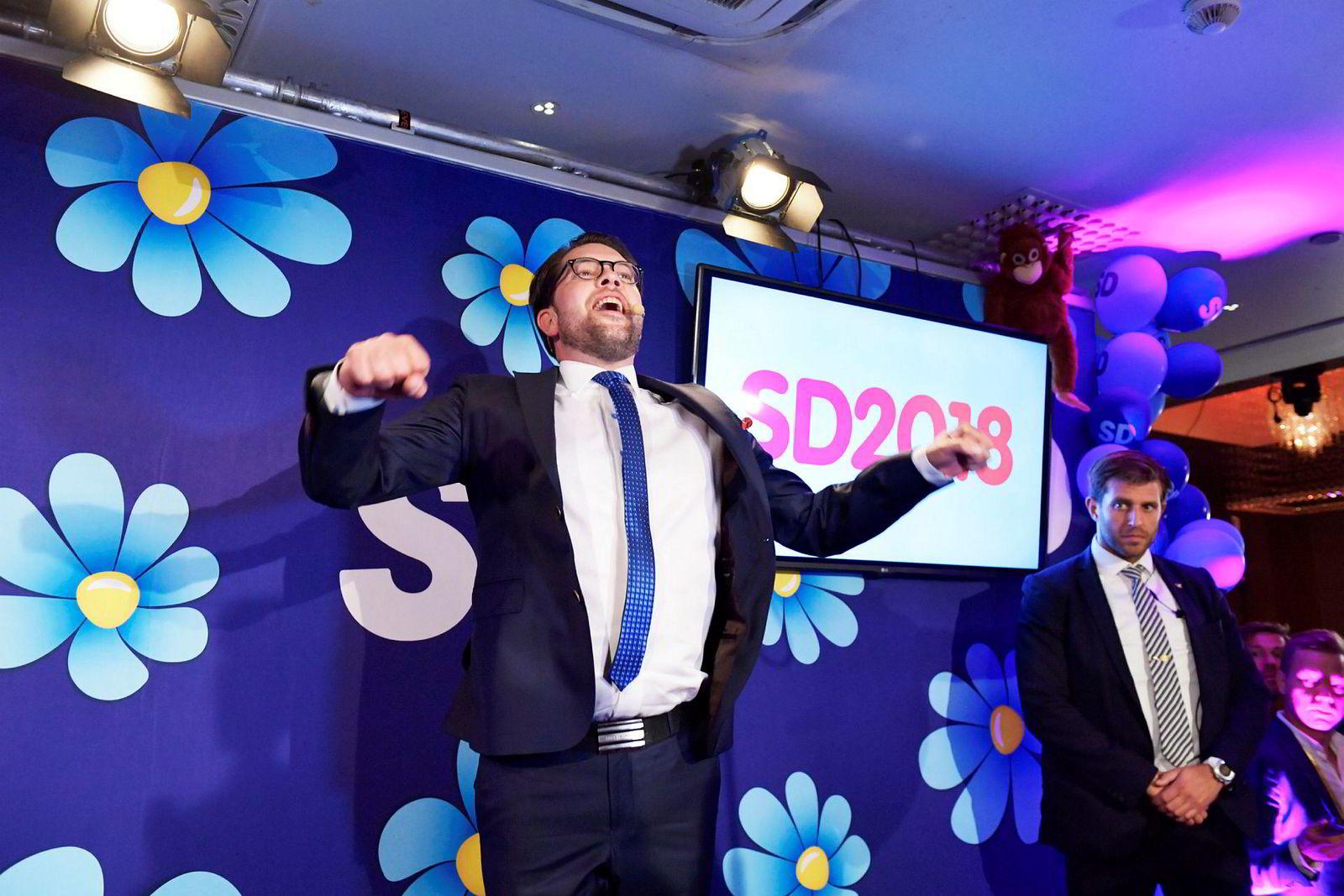 Jimmie Åkesson utpekte Sverigedemokraterna som valgets vinner på partiets valgvake, til tross for at de gjorde det langt svakere enn de hadde håpet.
