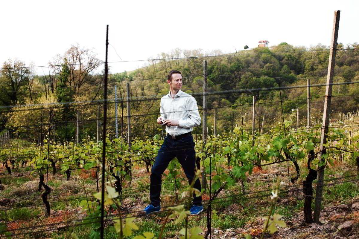 Christopher Moestue eier fra før vinmarker i både Burgund og Nord-Rhône i Frankrike. Her betrakter han sine nyervervede vinmarker i Gattinara fra naboens vingård.