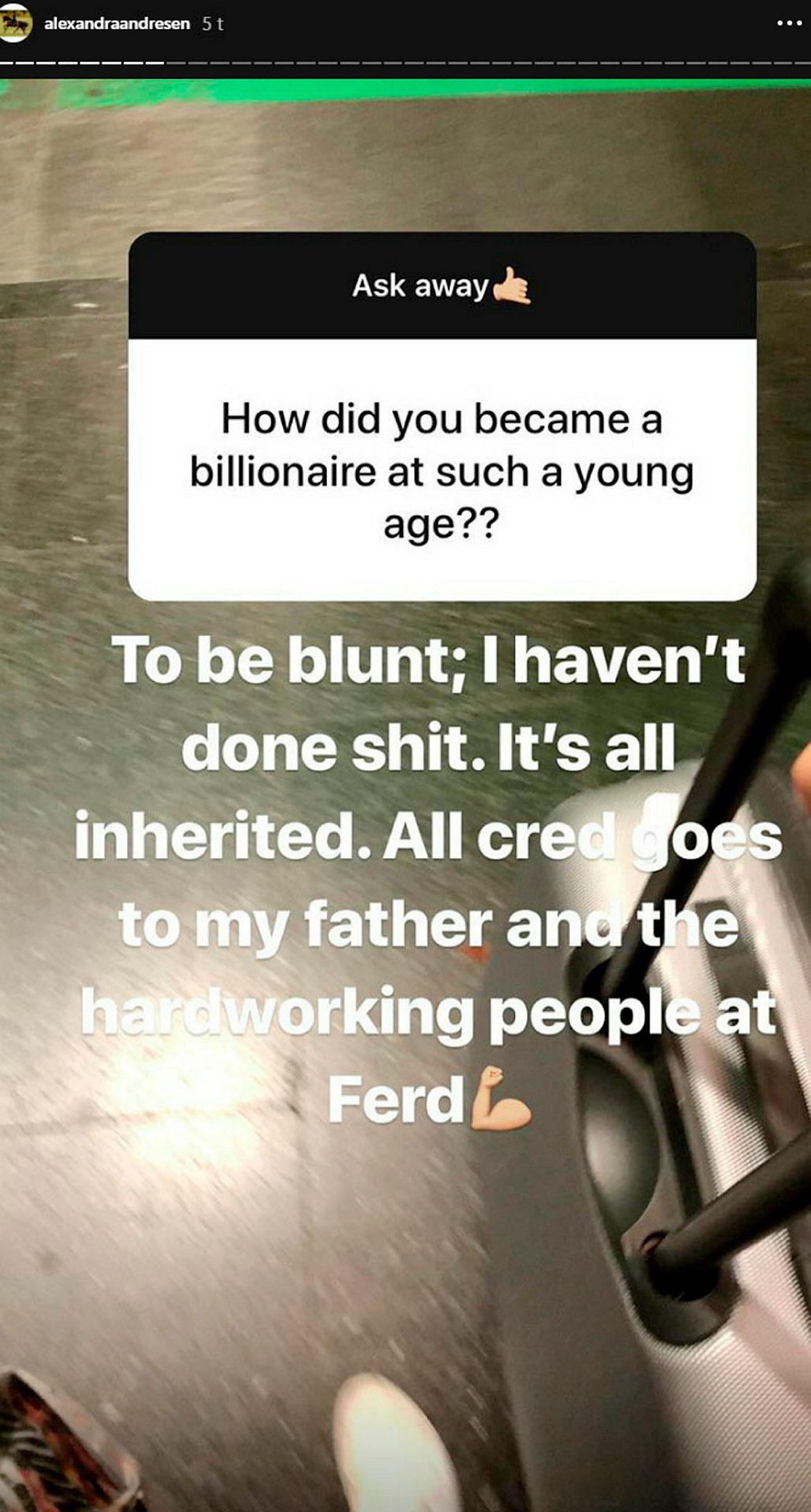 Skjermdump av Alexandra Andresens Instagram-story.