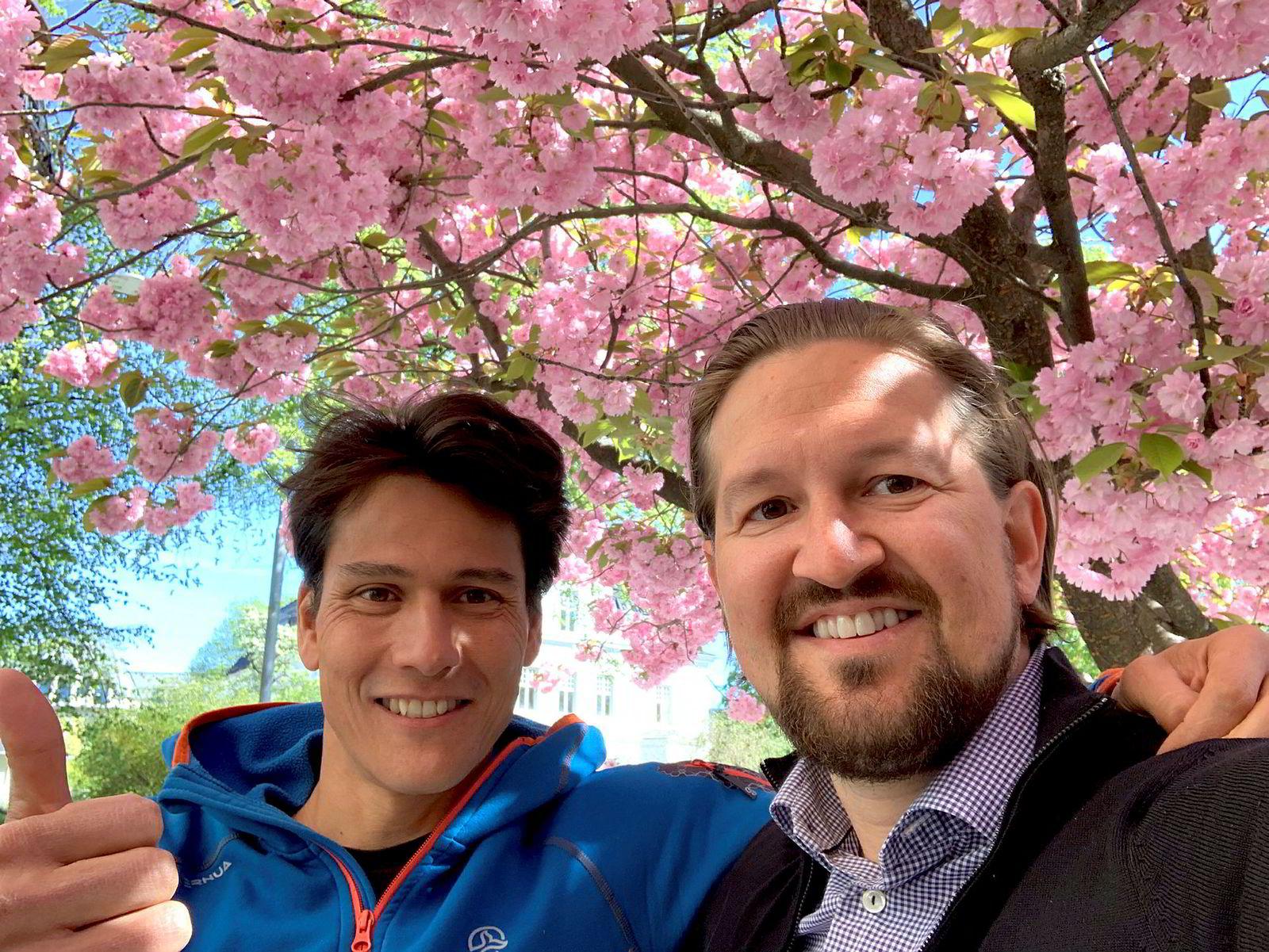 Dragonbox-gründer Jean-Baptiste Huynh (til venstre) og administrerende direktør Åsmund Furuseth i Kahoot.