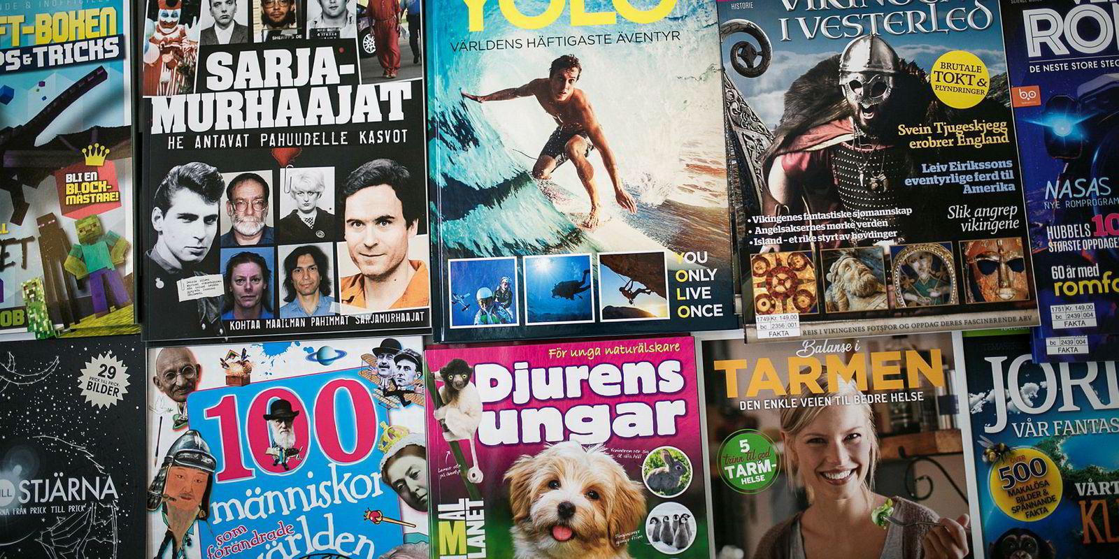 Bokasinene er magasiner med ett tema, som ikke gis ut periodisk. Dermed slipper de moms i Norge, men ikke i de andre nordiske landene.