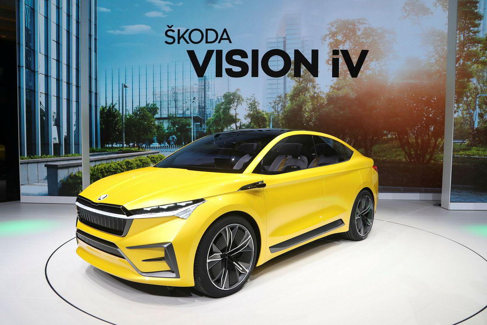 Skodas konseptbil heter Vision IV, og ser ut til å ha omtrent samme ytelser som Audi Q4 E-tron.