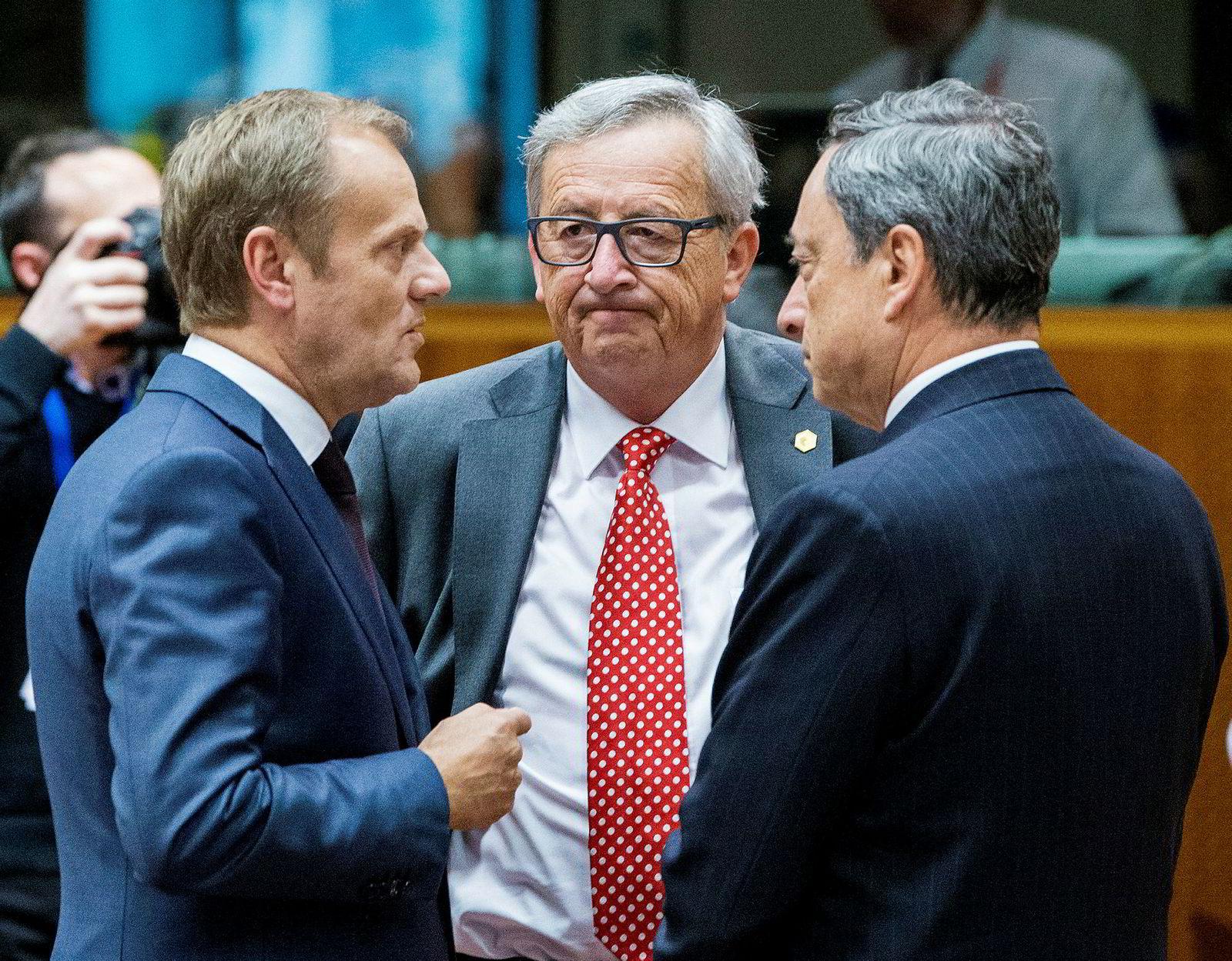 Tre av de mektigste mennene i EU skal skiftes ut i høst: presidenten i Det europeiske råd, Donald Tusk (fra venstre), Europakommisjonens president Jean-Claude Juncker og den europeiske sentralbanksjefen Mario Draghi.
