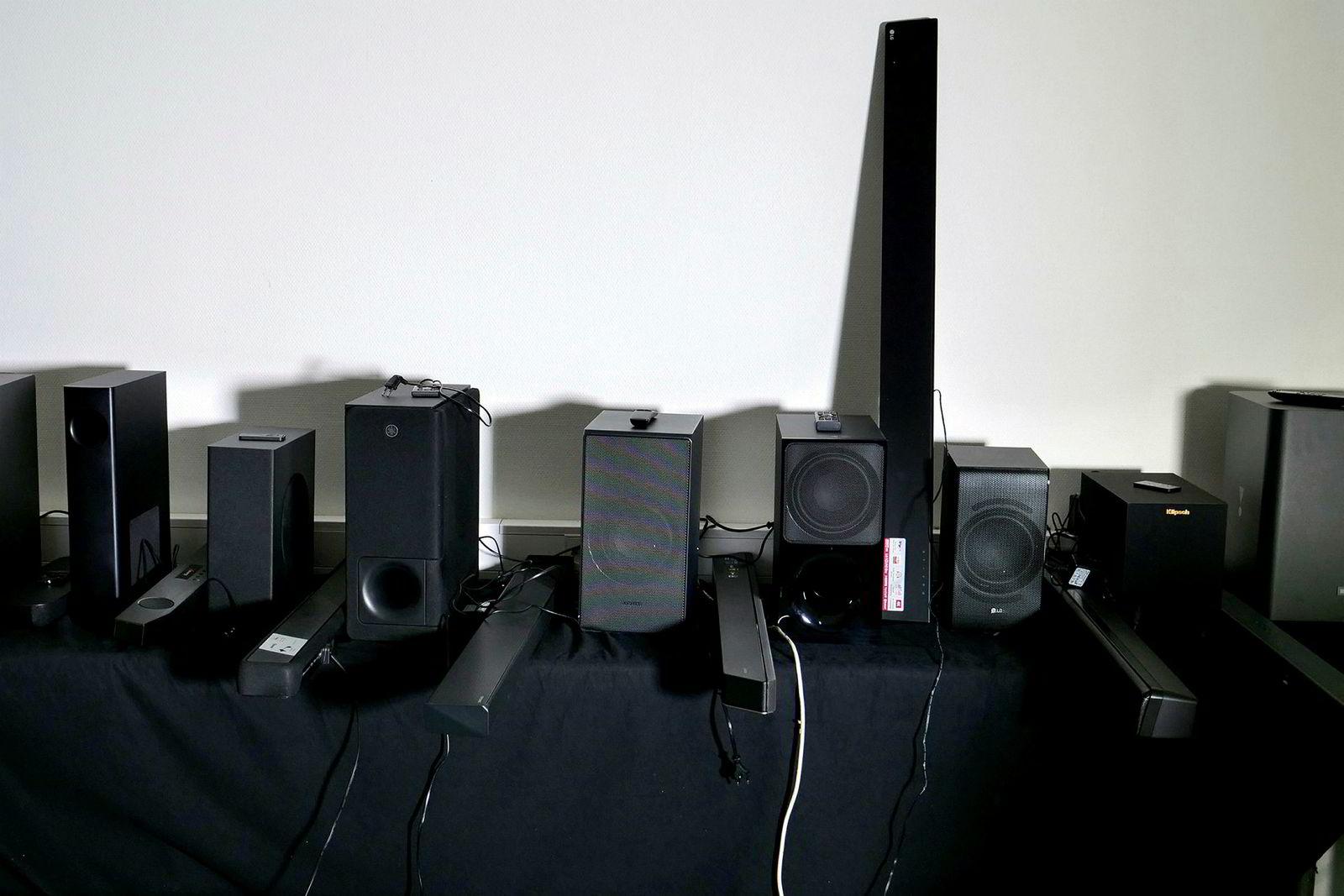 Alle lydplankene i testen på ett brett.