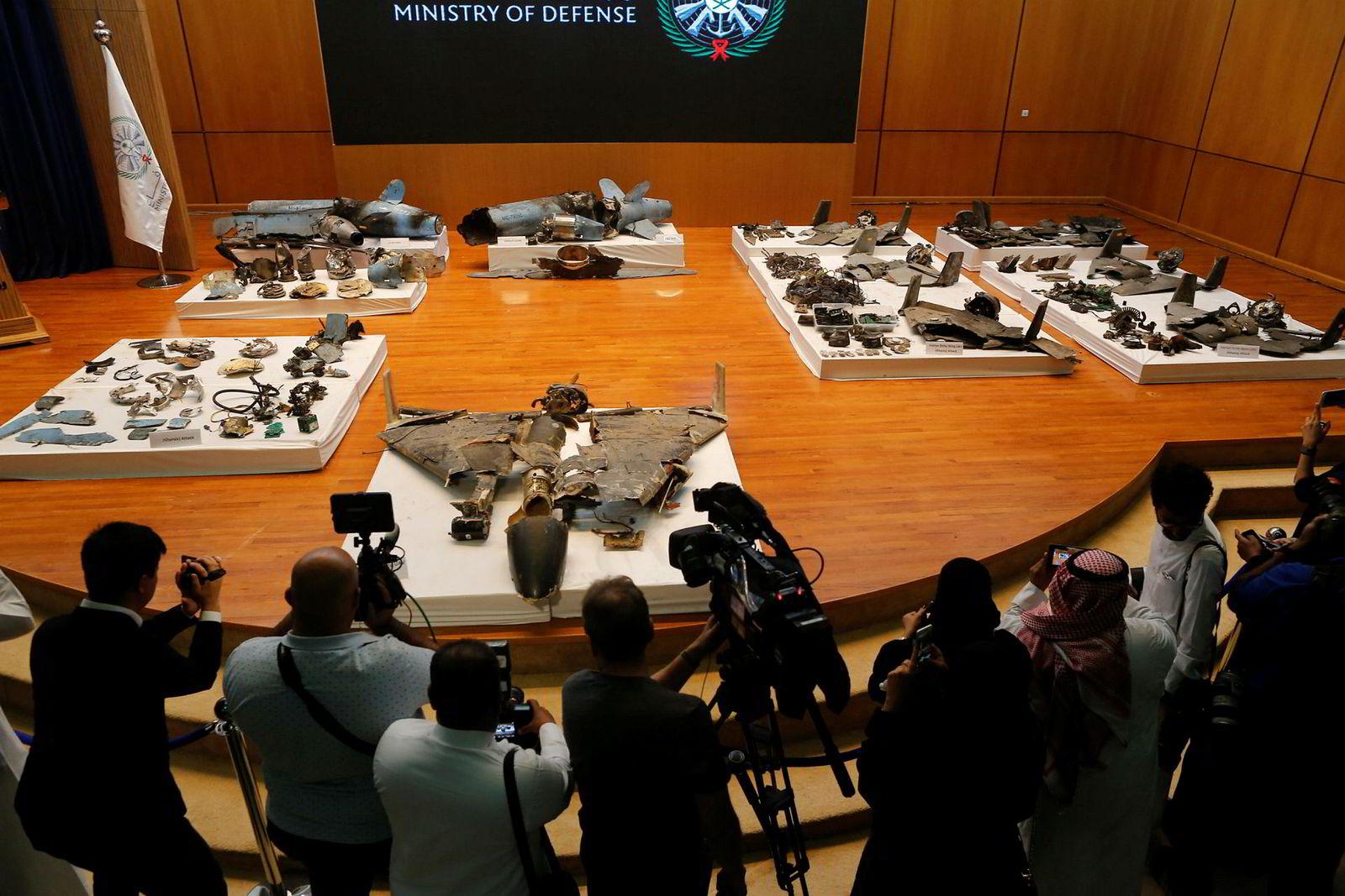 På pressekonferanse i hovedstaden Riyadh onsdag, ble restene av droner og missiler fremlagt som bevis på at Iran stod bak lørdagens angrep.