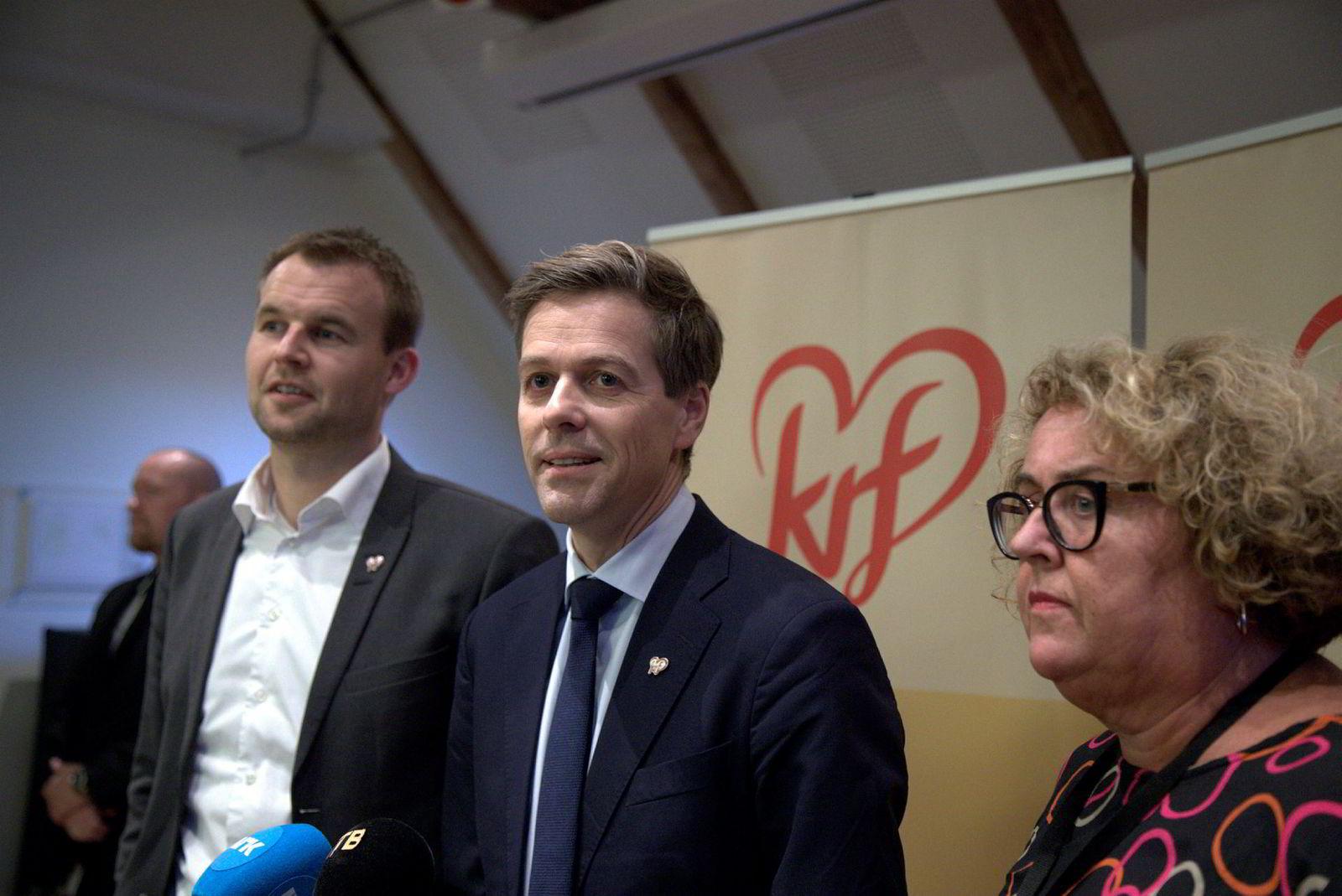 Partileder Knut Arild Hareide (i midten) ønsker venstrevridning mens nestlederne Kjell Ingolf Ropstad og Olaug Bollestad vil heller begynne å snakke med høyresiden.